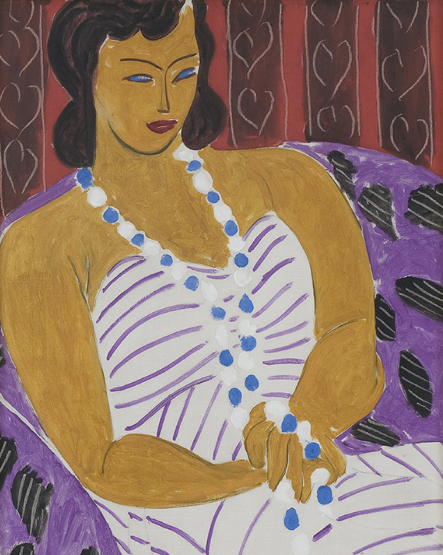 Henri Matisse, Dame à la robe blanche [Woman in White] (detail), 1946, Oil on canvas; 96.5 x 60.3 cm. Des Moines Art Center, Acc. No. 1959.40. Courtesy The Matisse Foundation. © 2017 Succession H. Matisse / Artists Rights Society