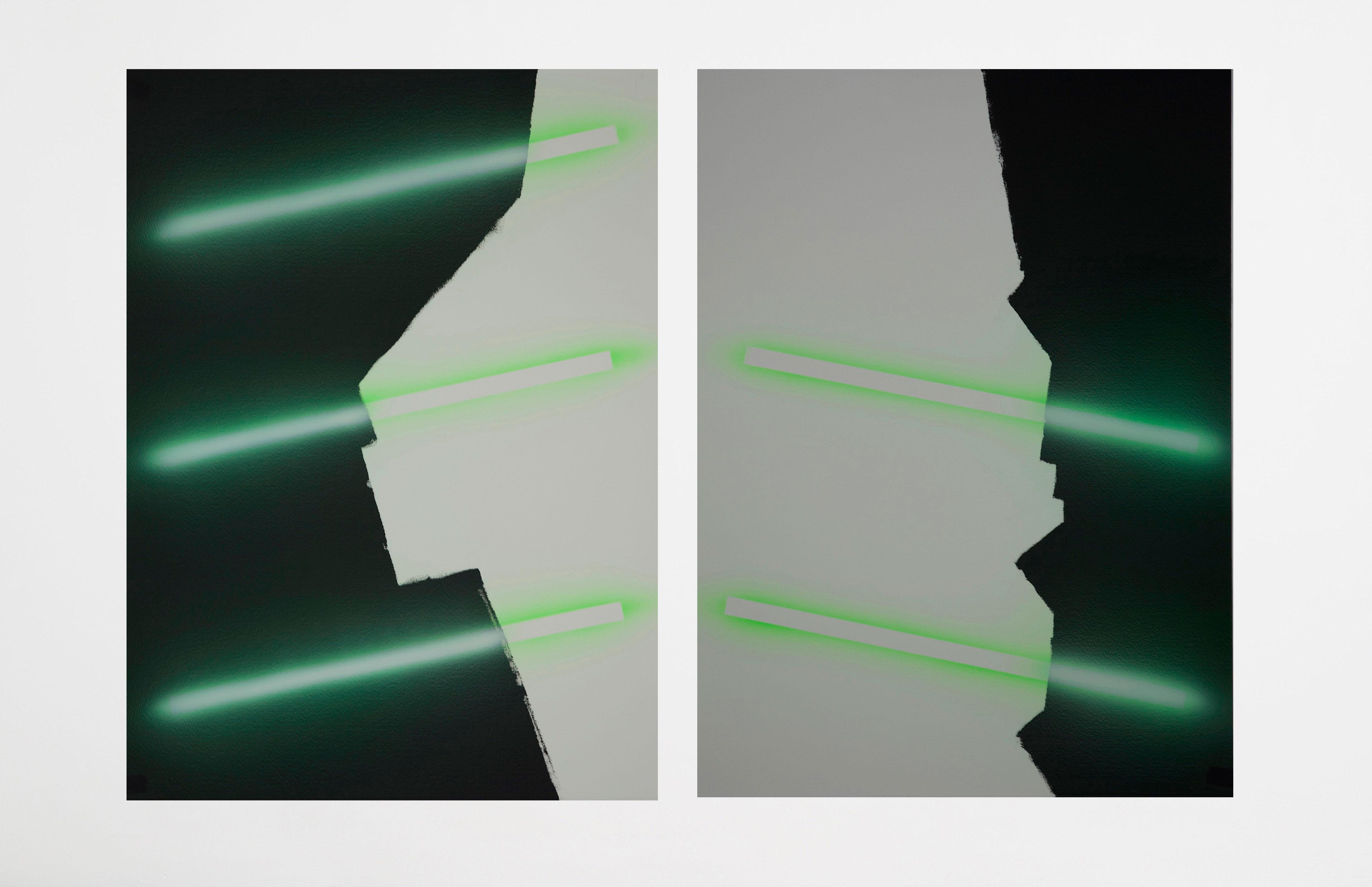 Put back, surface non déterminée, acrylique sur papier, 55,5 x 77 cm (x2), 2018, Nicolas Delprat