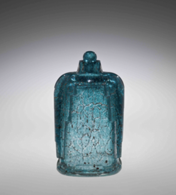 Maurice Marinot Large bottle, water effect, 1928 Transparent glass with hot-worked dark-blue inclusions between the layers, acid-etched, H.27 cm ©The Corning Museum of Glass, Gift of Evangeline B. Bruce
