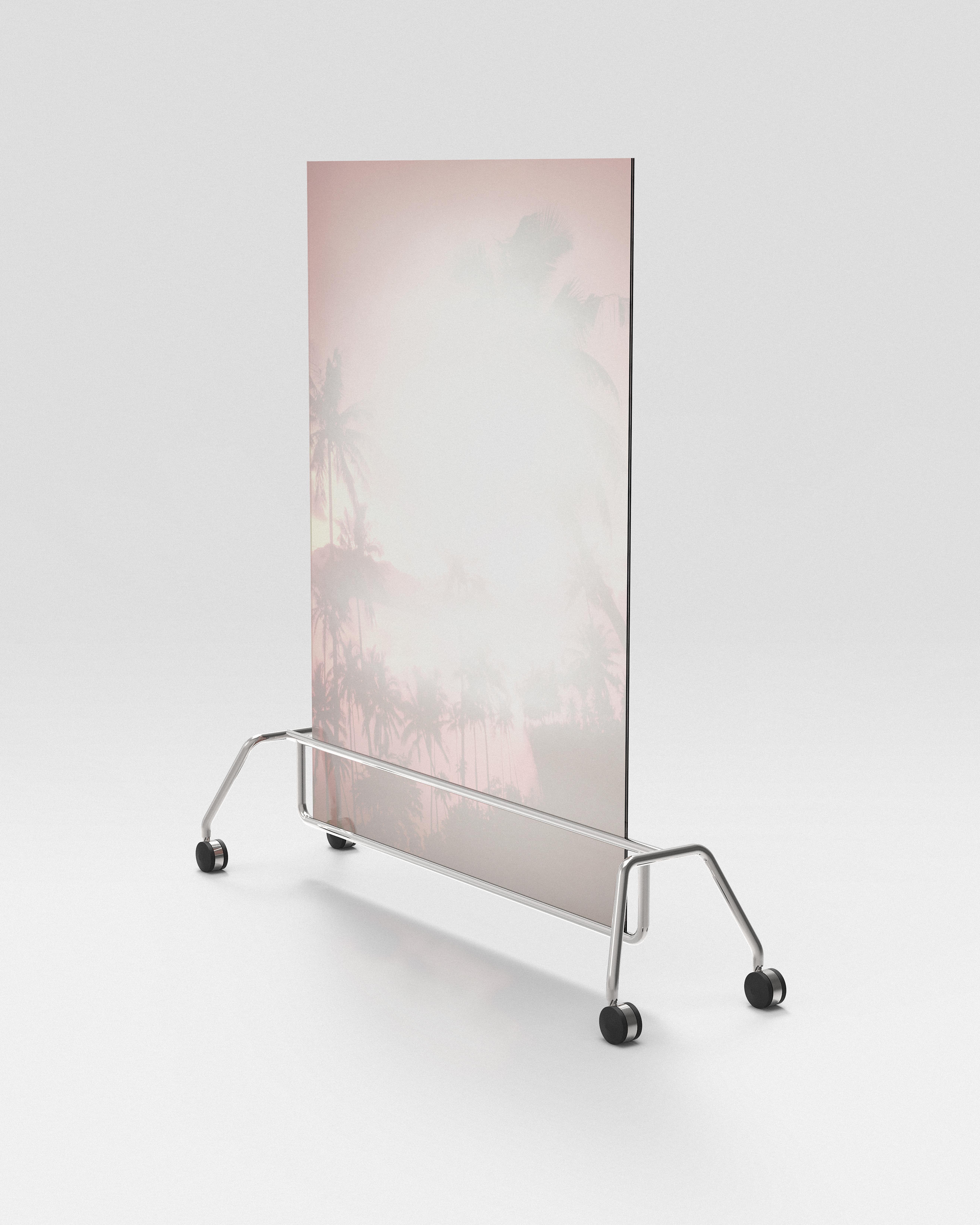 Benoit Jeannet, galerie Eric Mouchet, «Erased pacific Landscape» Tirage UV sur plexiglass Base en acier chromé sur roulette Edition de 1+2AP
