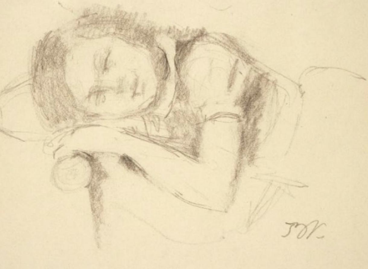 BRAME & LORENCEAU Balthus (1908-2001) Jeune fille dormant 1983 Dessin au crayon sur papier 18,5 x 24,5 cm Monogrammé en bas à droite: BK
