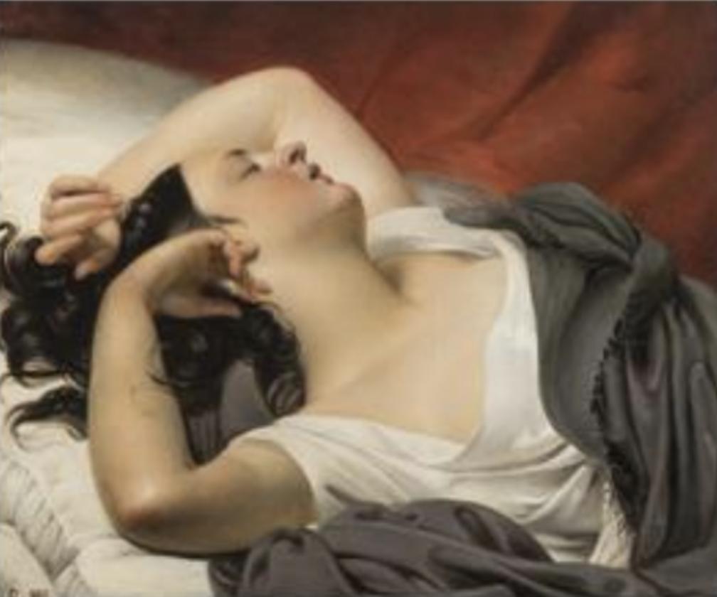 GALERIE MICHEL DESCOURS Claude-Marie Dubufe (1790-1864) Le Sommeil, 1831, Huile sur toile 59,7×72,5 cm Monogrammé et daté en bas à gauche : D.1831