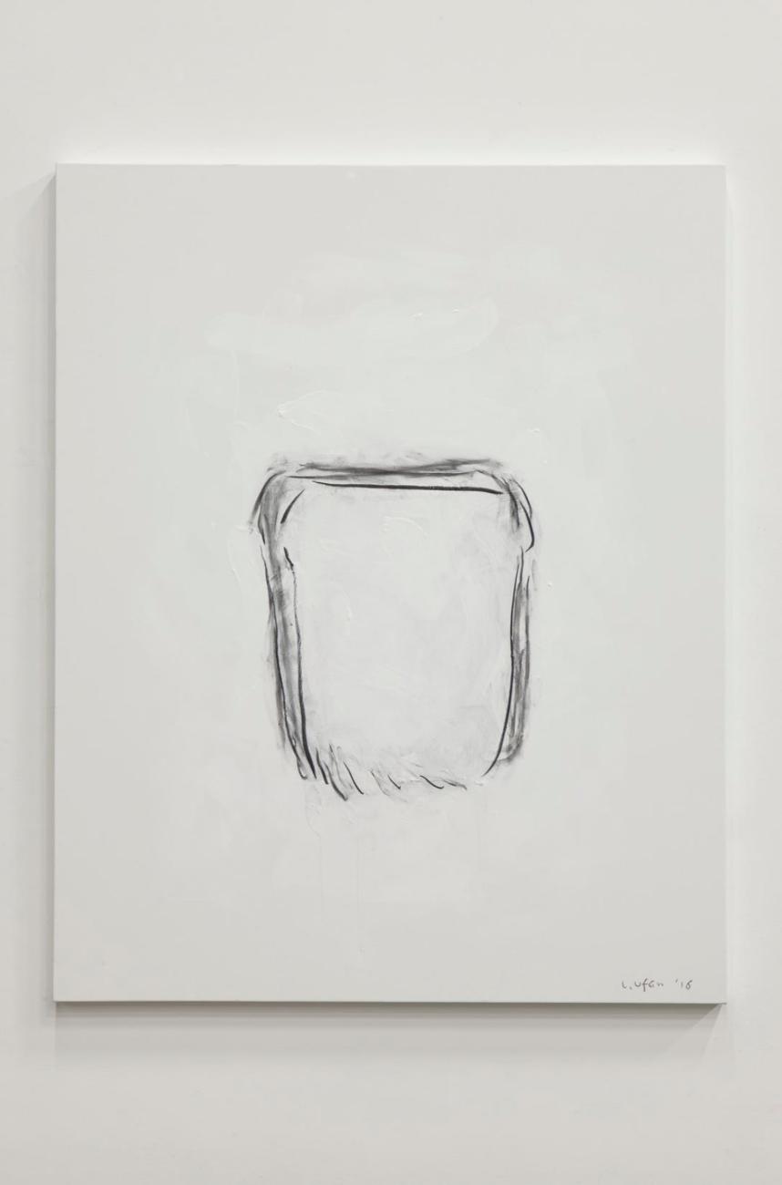 Dialogue  2016 Crayon fusain sur toile / Charcoal on canvas 162 x 130 cm (63.78 x 51.18 in.) (Inv n°LU144), courtesy galerie Kamel Mennour Paris.