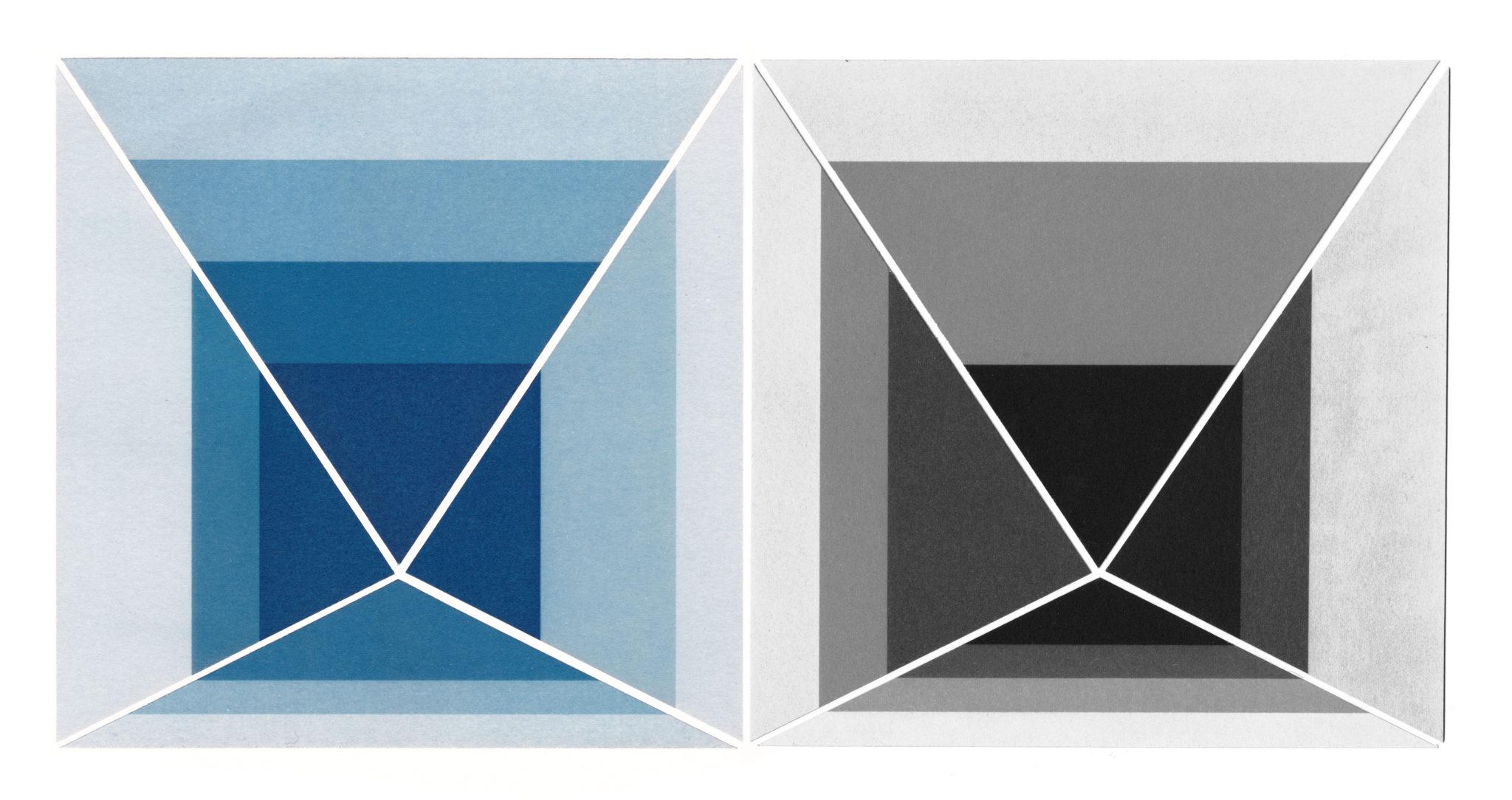 Edouard Taufenbach, Etudes pour LA MÉTHODE, série de 96 variations sur la série Homage to the Square de Josef Albers, 2019 cyanotype et palladiotype – collages en pièces uniques – 32,5 x 32,5 cm, courtesy galerie Binome