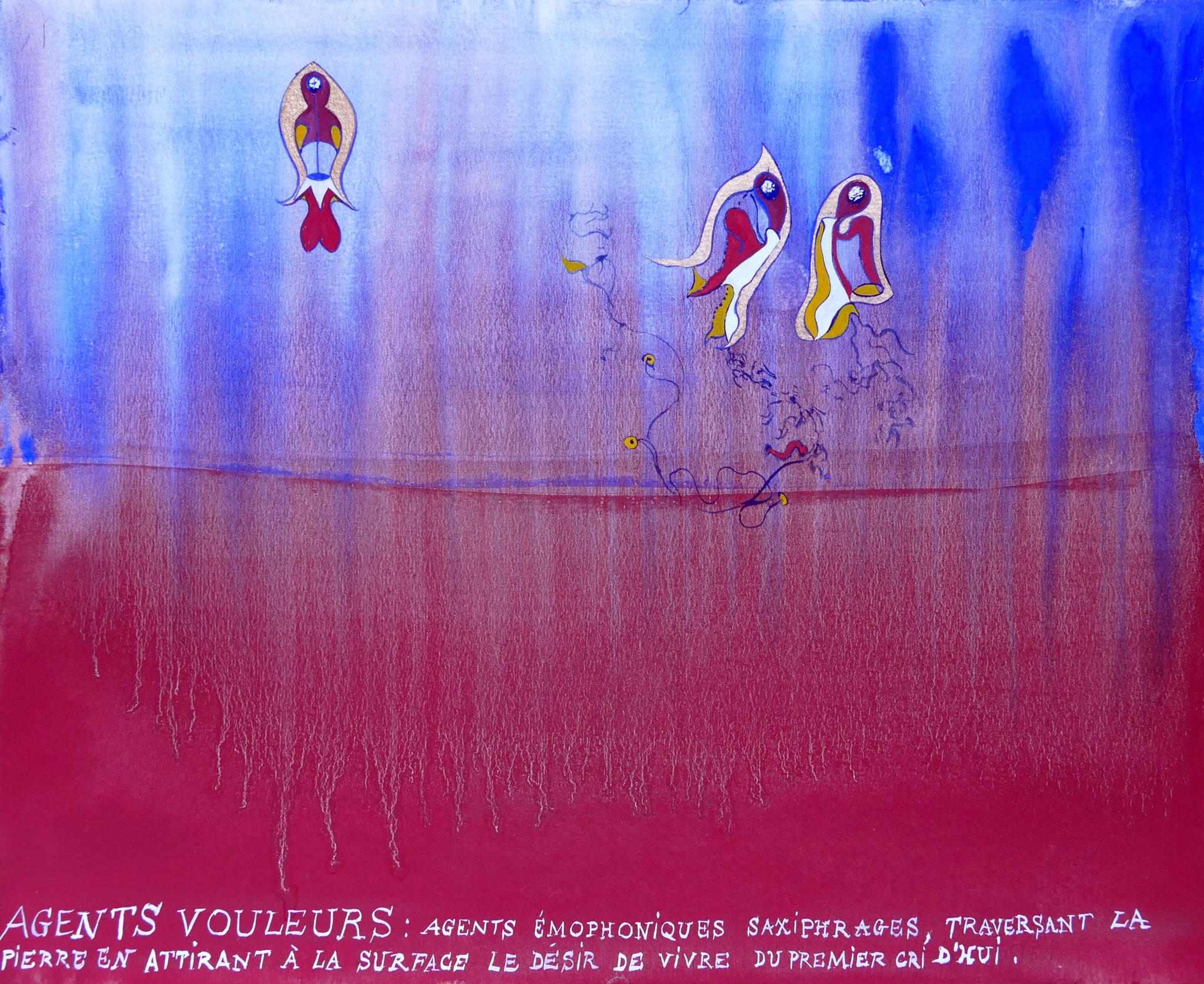 Lucie Picandet, Agents Vouleurs, Agents Saxiphrages, Paysages émophoniques, Série des Emophones, Celui que je suis, 2019_Aquarelle et gouache sur papier, 30 x 42 cm © Galerie Georges-Philippe & Nathalie Vallois