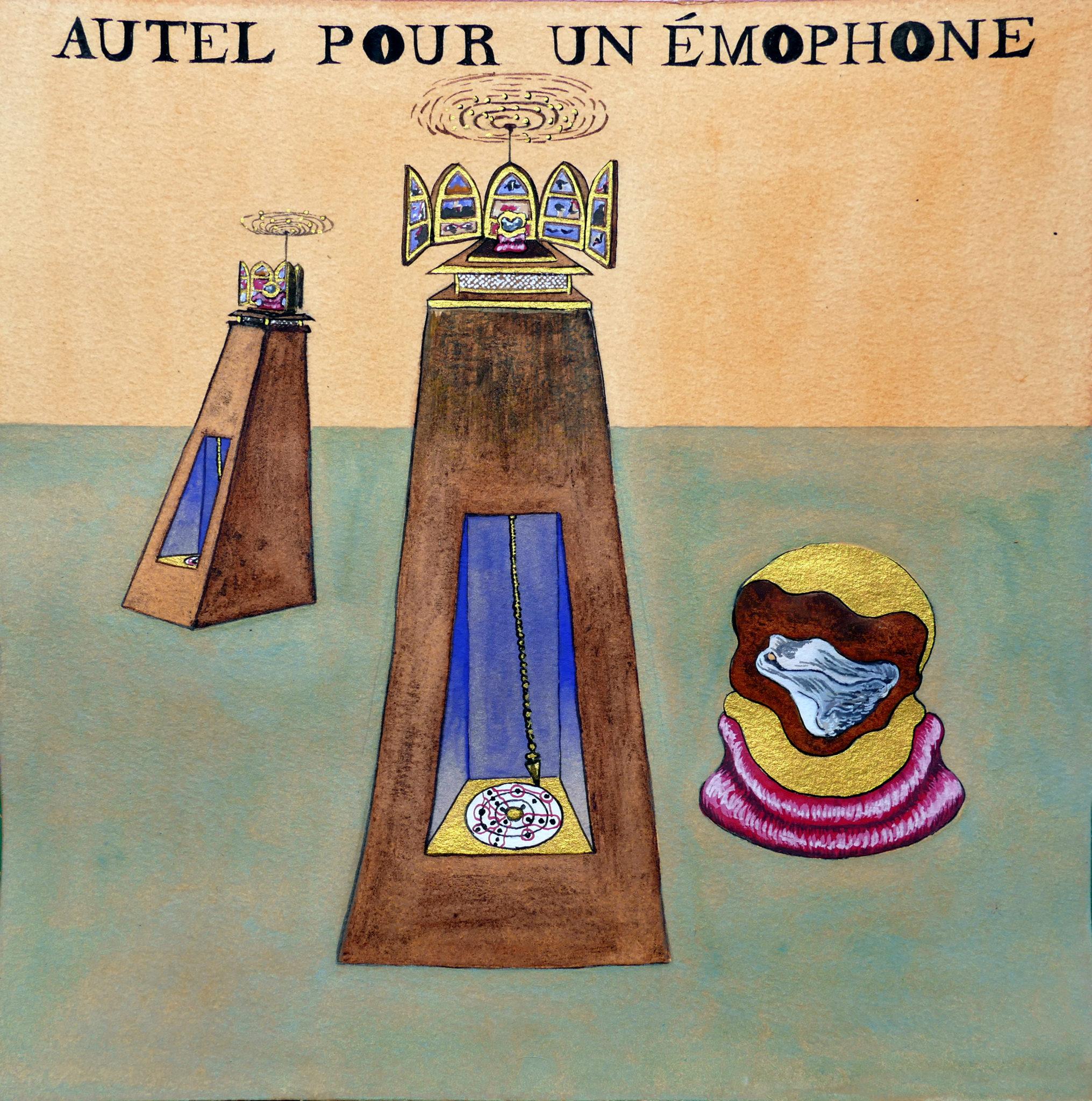 Lucie Picandet, Autel pour un Emophone, 2019_Aquarelle et gouache sur papier, 30 x 30 cm © Galerie Georges-Philippe & Nathalie Vallois
