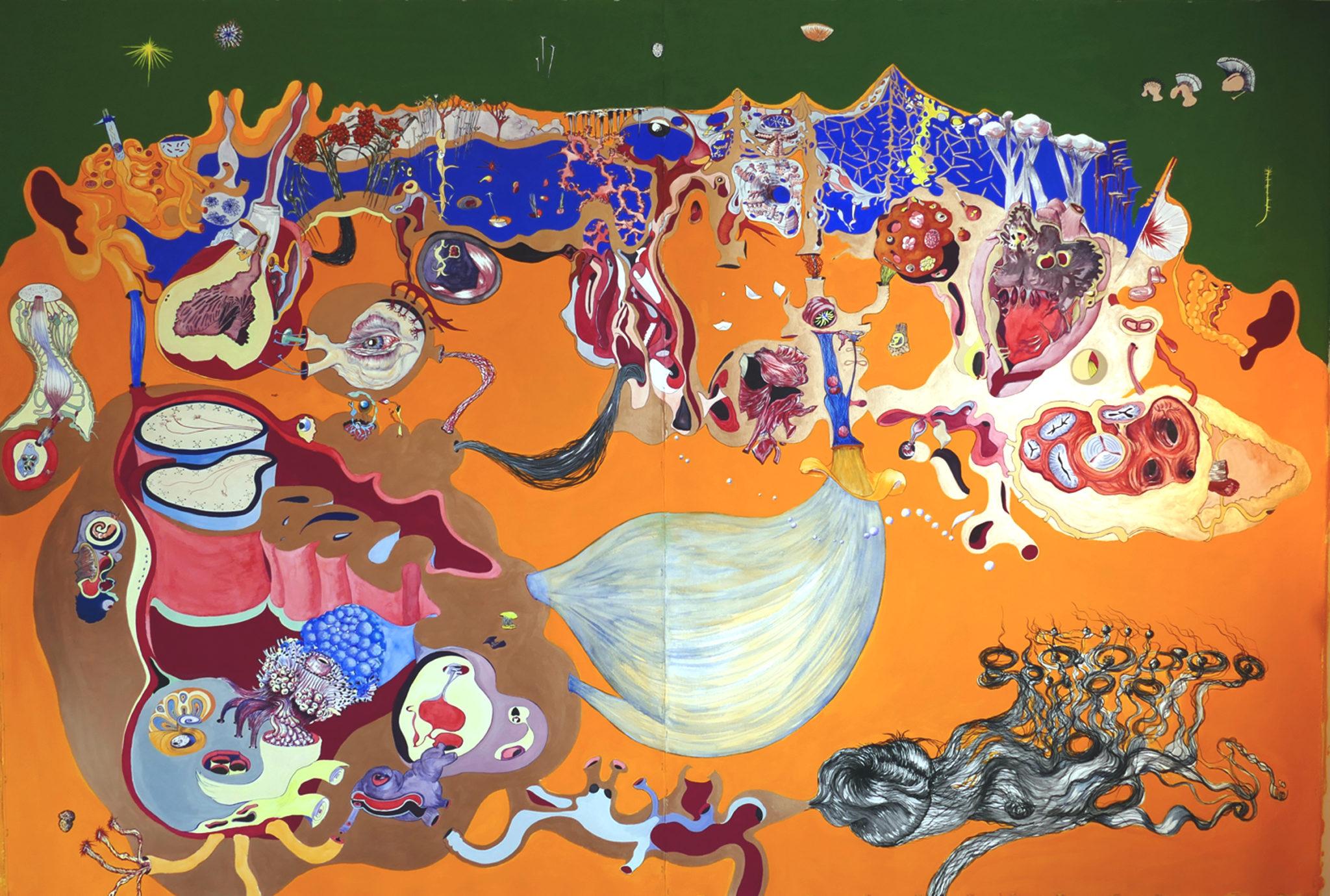 Lucie Picandet, Sur les deux oreilles, 2018_Aquarelle, gouache et encres sur papier, 190 x 276 cm_Collection privée © Galerie Georges-Philippe & Nathalie Vallois
