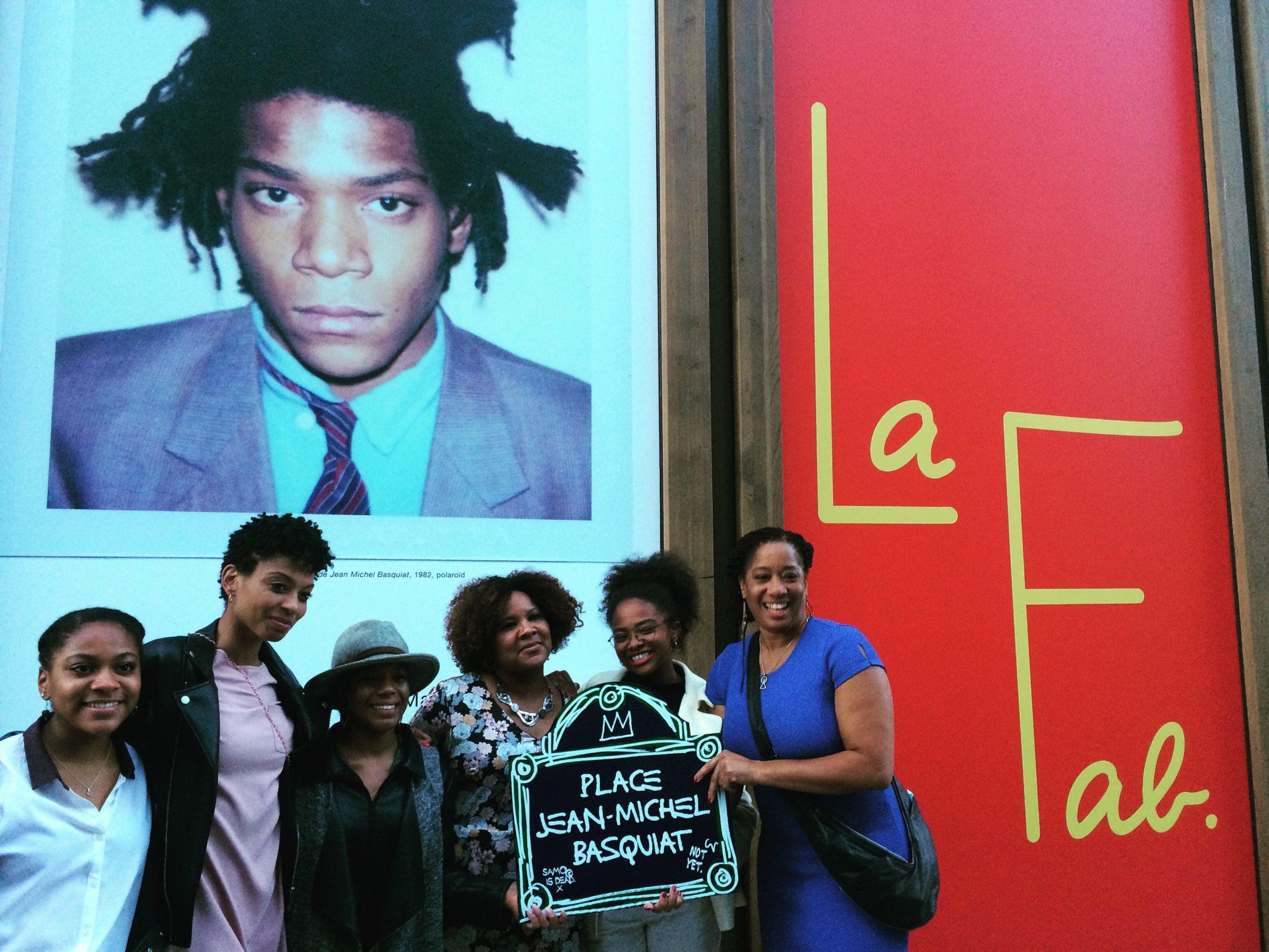La famille Basquiat lors de l'inauguration de la Place Jean-Michel Basquiat. © Copyright La Fab. The Basquiat family during the inauguration of Place Jean-Michel Basquiat. © Copyright La Fab.