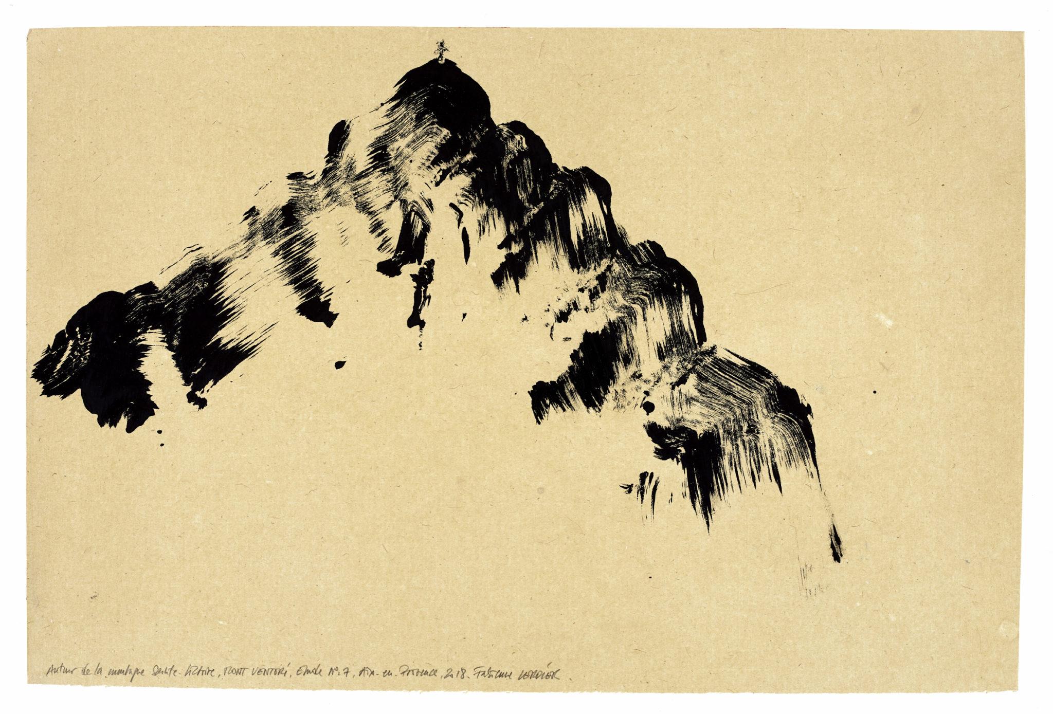 Fabienne Verdier, Autour de la montagne Sainte-Victoire, Mont Venturi, étude n°07, 2018_Gouache sur papier, marouflée, 46 x 69 cm © Courtesy Galerie Lelong & Co