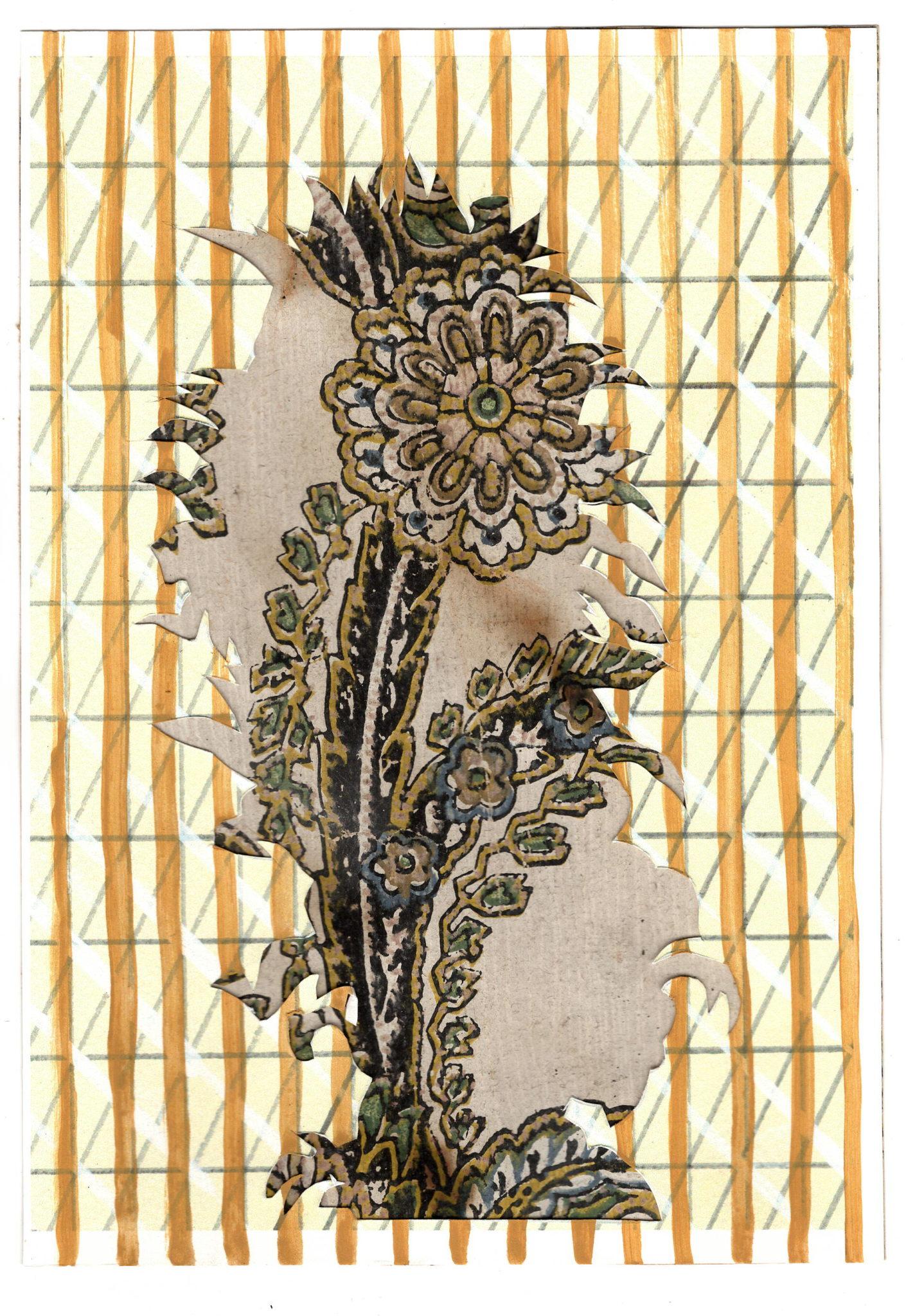 Frédérique Lucien, Fantôme, 2019_Dessin sur papier découpé et collé sur papier peint, 21 x 15 cm © Frédérique Lucien, Galerie Jean Fournier, Paris, 2019