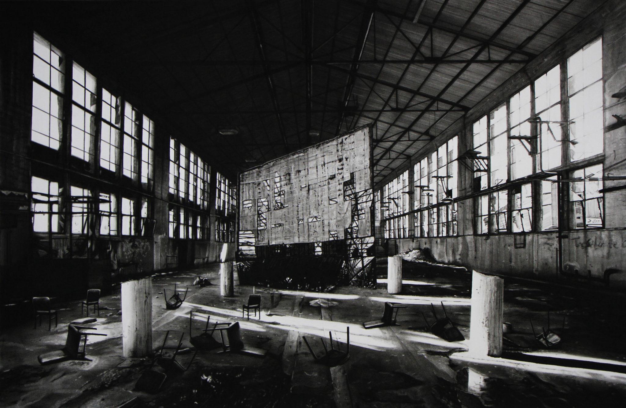 Mathieu Dufois, Intermède, 2018_Dessin à la pierre noire sur papier, 107 x 162 cm © Mathieu Dufois – Courtesy Galerie C