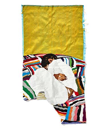 BILLIE ZANGEWA  Soldier of Love, courtesy galerie Templon Paris, Return to innocence, 2020 EMBROIDERED SILK  110 X 49 CM 43 1/4 X 19 1/4 IN