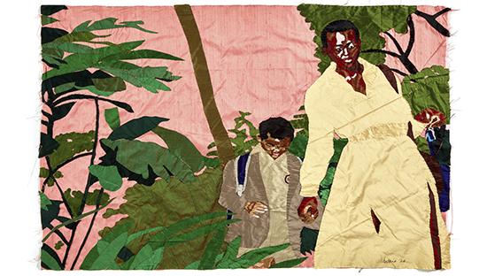 BILLIE ZANGEWA  Soldier of Love, courtesy galerie Templon Paris,Soldier of Love, 2020 EMBROIDERED SILK  110 X 135 CM 43 1/4 X 53 1/8 IN.