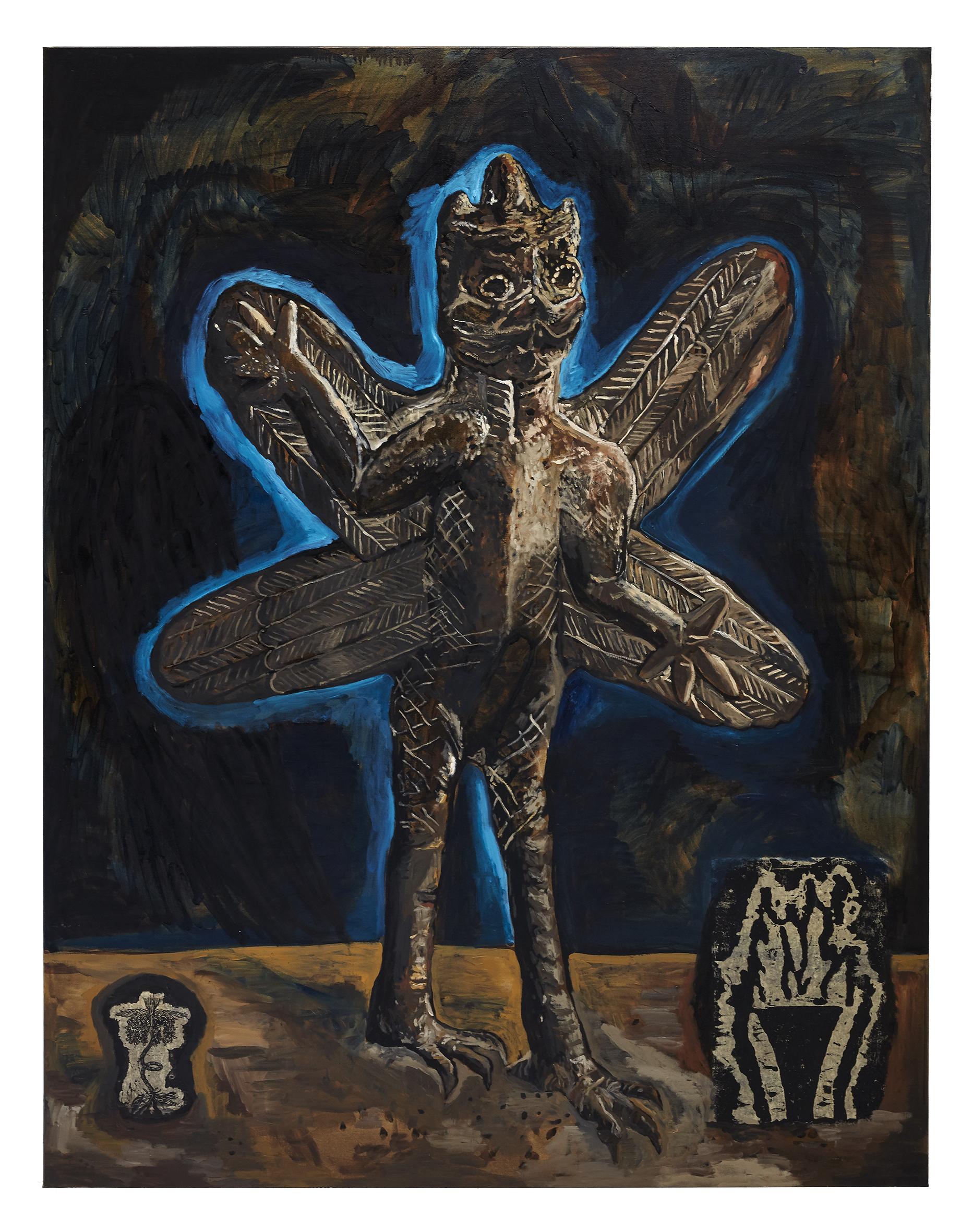 Damien Deroubaix, Conscience (Pazuzu), 2020, huile et collage sur toile, 200 x 150 cm © Thomas Lannes : Adagp, Paris, 2020, courtesy de l'artiste et galerie In Situ – fabienne leclerc, Grand Paris