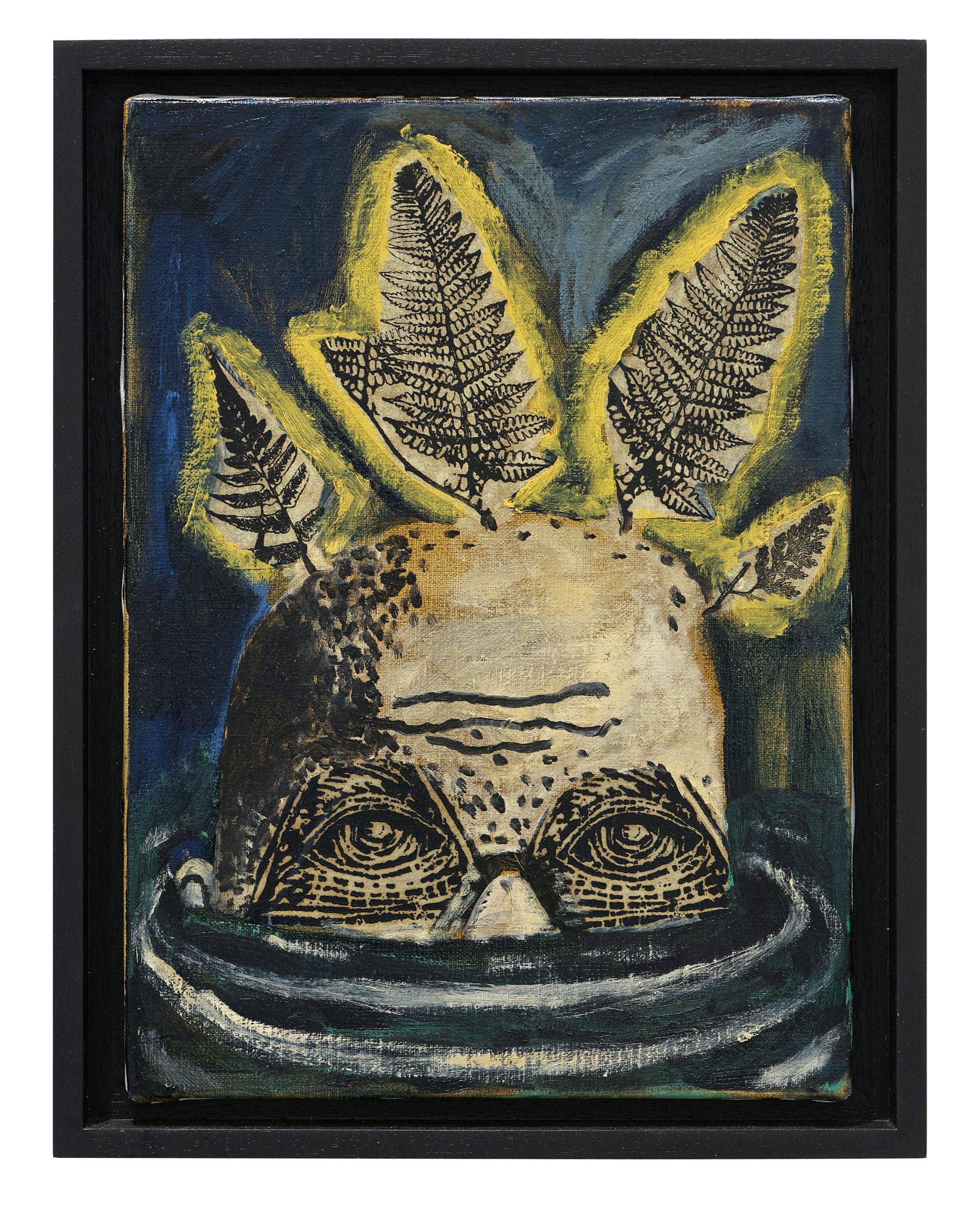Damien Deroubaix, Le printemps, 2018, huile et collage sur toile, 37 x 29 cm © Blaise Adilon, MAMC+ Saint-Etienne : Adagp, Paris, 2020, courtesy de l'artiste et galerie In Situ – fabienne leclerc, Grand Paris