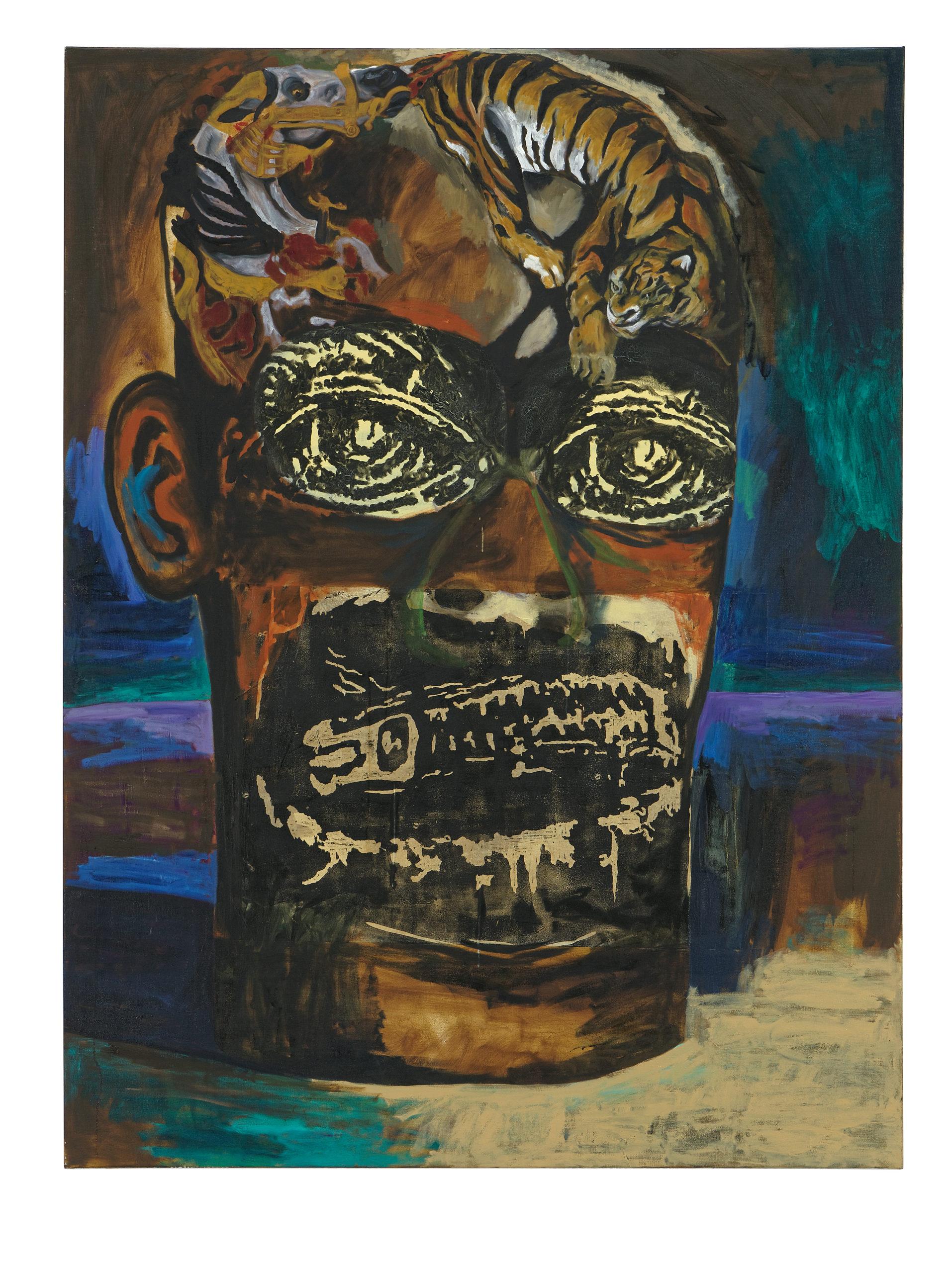 Damien Deroubaix, Peintre (Delacroix), 2017, huile et collage sur toile, 200 x 150 cm, © Blaise Adilon, MAMC+ Saint-Etienne : Adagp, Paris, 2020, courtesy de l'artiste et galerie In Situ – fabienne leclerc, Grand Paris