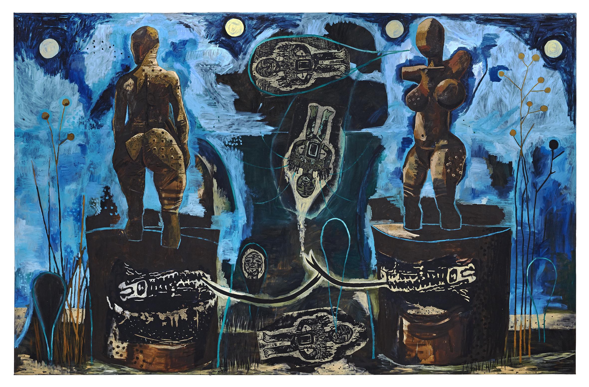 Damien Deroubaix, Rupture de communication, 2020, huile et collage sur toile, 250 x 400 cm © Thomas Lannes : Adagp, Paris, 2020, courtesy de l'artiste et galerie In Situ – fabienne leclerc, Grand Paris