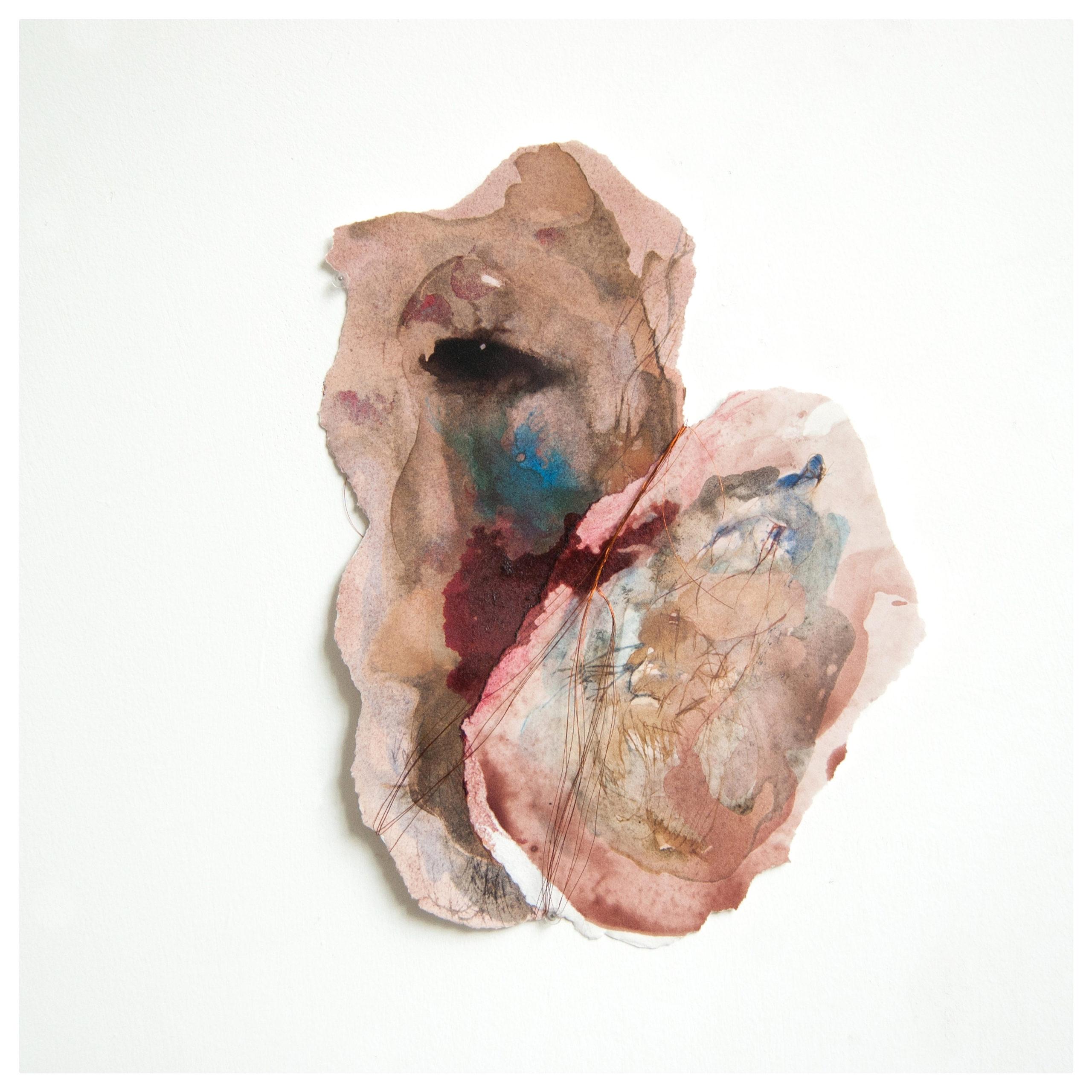 Gaëlle Chotard_Sans titre_2019_encres et aquerelle sur papier déchirés, inks and watercolours on torn paper_24,5x19x0,5 cm