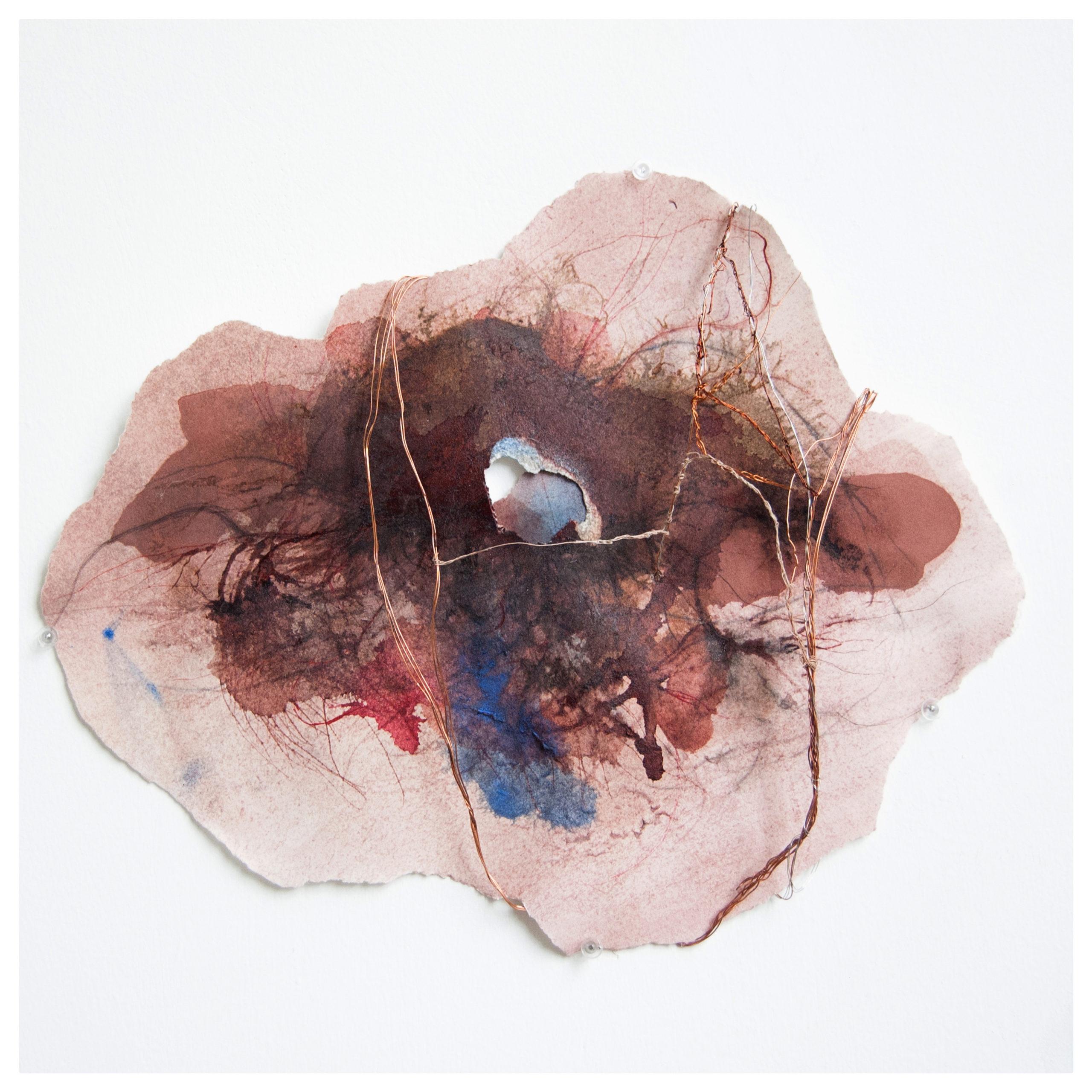 Gaëlle Chotard_sans titre_2019_encres et aquerelle sur papiers déchirés, fils métalliques, inks and watercolours on torn paper, metal threads_24x19x1,5 cm
