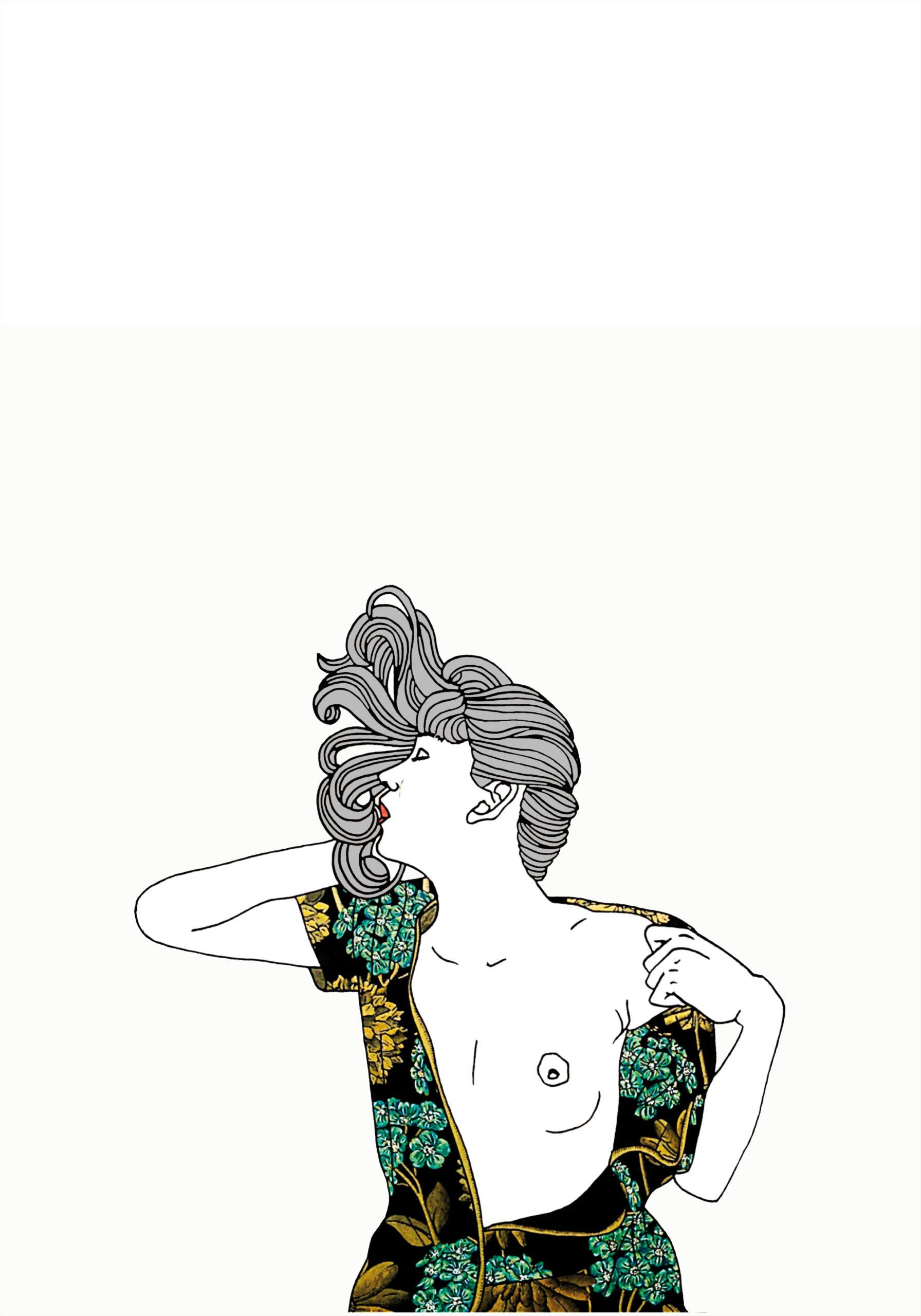 Bertrand Robert [ à corps ] perdu, pièce sonore, 2020 Série [ états ] Amoureux Papier Vinci, offset à chaud, crayon de couleur, graphite, rollers or-argent-blanc, néocolor, 70 cm x 100 cm, Courtesy Ségolène Brossette Galerie
