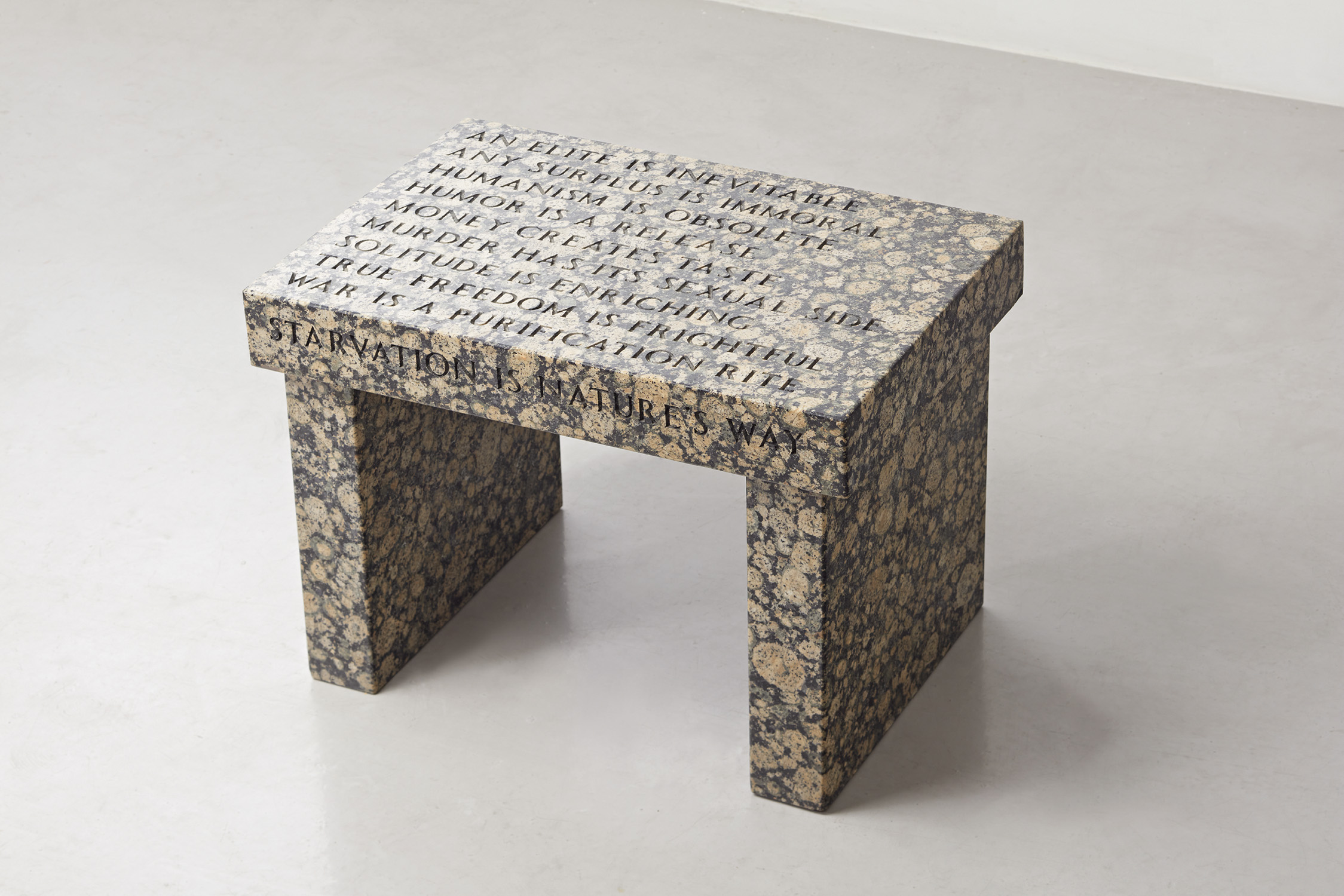 JENNY HOLZER Truism Footstool 1988 incised Baltic brown granite 41.4 x 58.5 x 40.3 cm. (16 1/4 x 23 x 15 7/8 in.) Executed in 1988, this work is from an edition of 40 plus 8 artist's proofs. Estimate HK$150,000 - 250,000 / €17,000-28,300 / $19,200-32,100