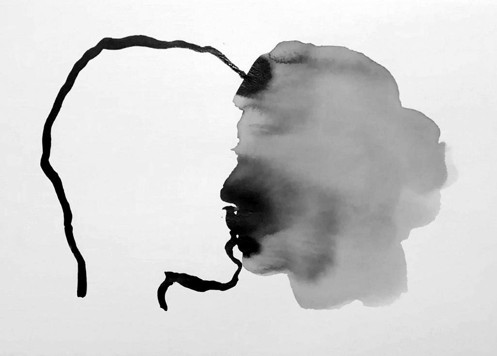 Julien Serve Série Hallucinose amoureuse, 2019-2020, Série de 27 encres de chine et de 3 œuvres au stylo feutre sur papier, 21 x 29,7 cm, Courtesy Ségolène Brossette Galerie
