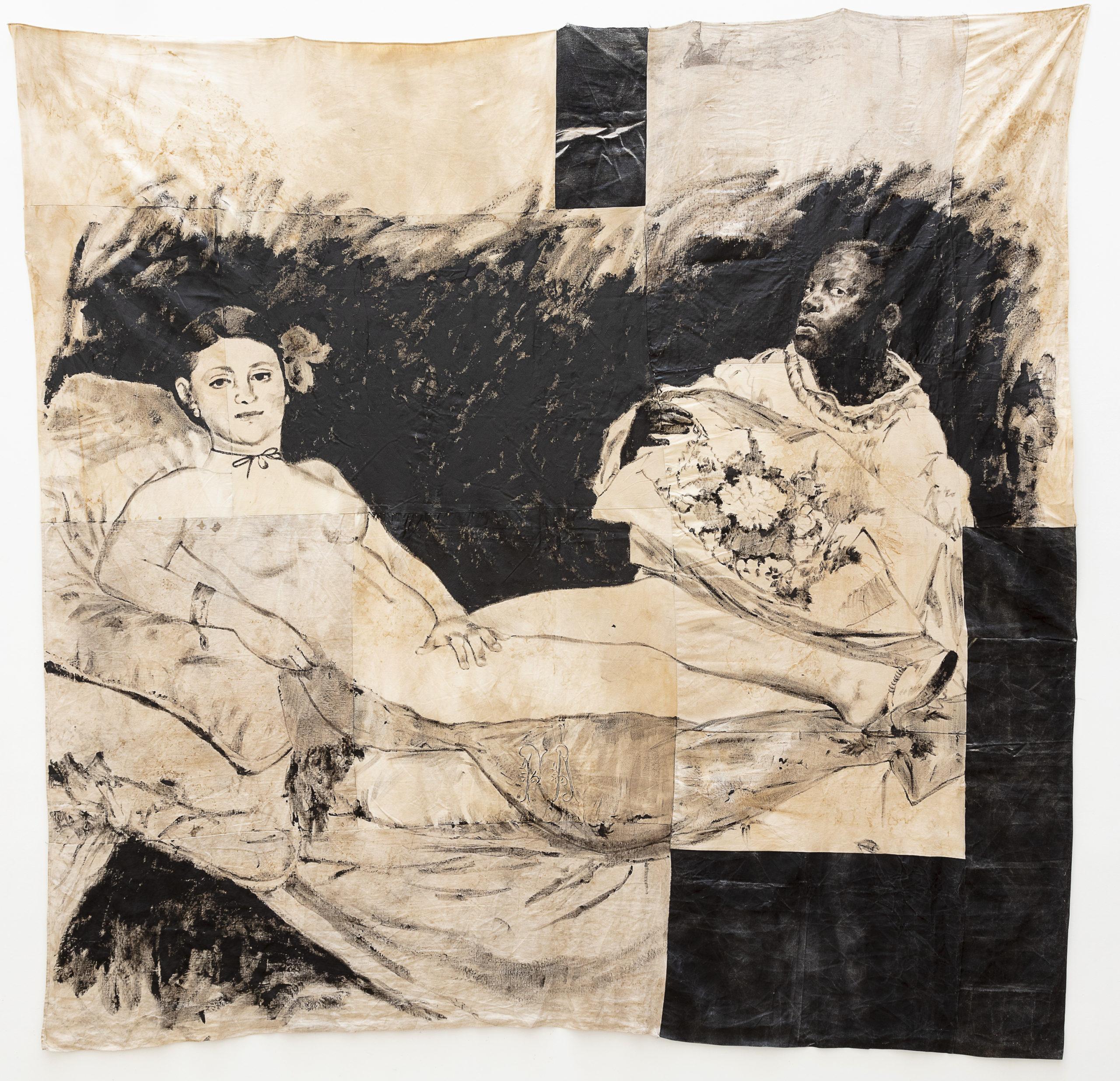 ROMÉO MIVEKANNIN Série Le Modèle Noir, Olympia d'après Manet, 2020,  Acrylique, bains d'élixir sur toile libre,  260 x 260 cm. Collection privée  Courtesy galerie Eric Dupont, Paris.