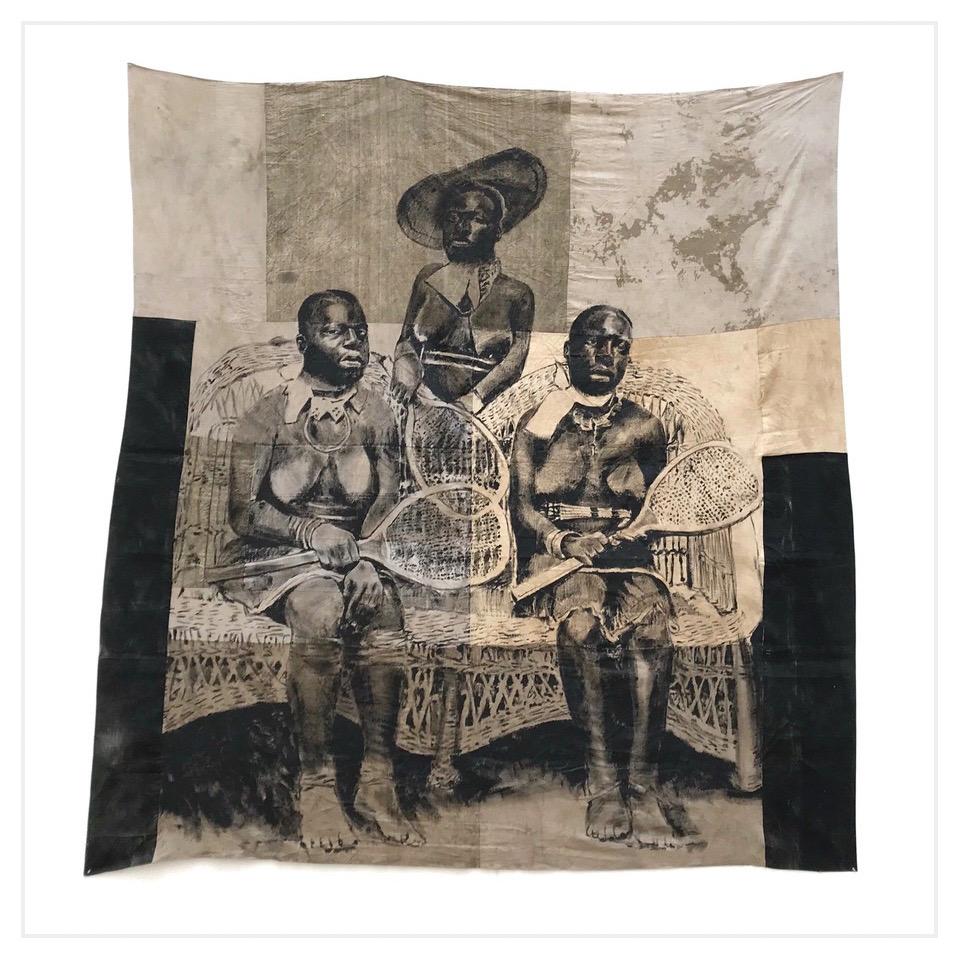 ROMÉO MIVEKANNIN  «Are you fond of tennis?», Durban, Afrique du Sud, 1910, 2020, Acrylique, bains d'élixir sur toile libre, 262 x 247 cm  Collection privée Courtesy galerie Eric Dupont, Paris.