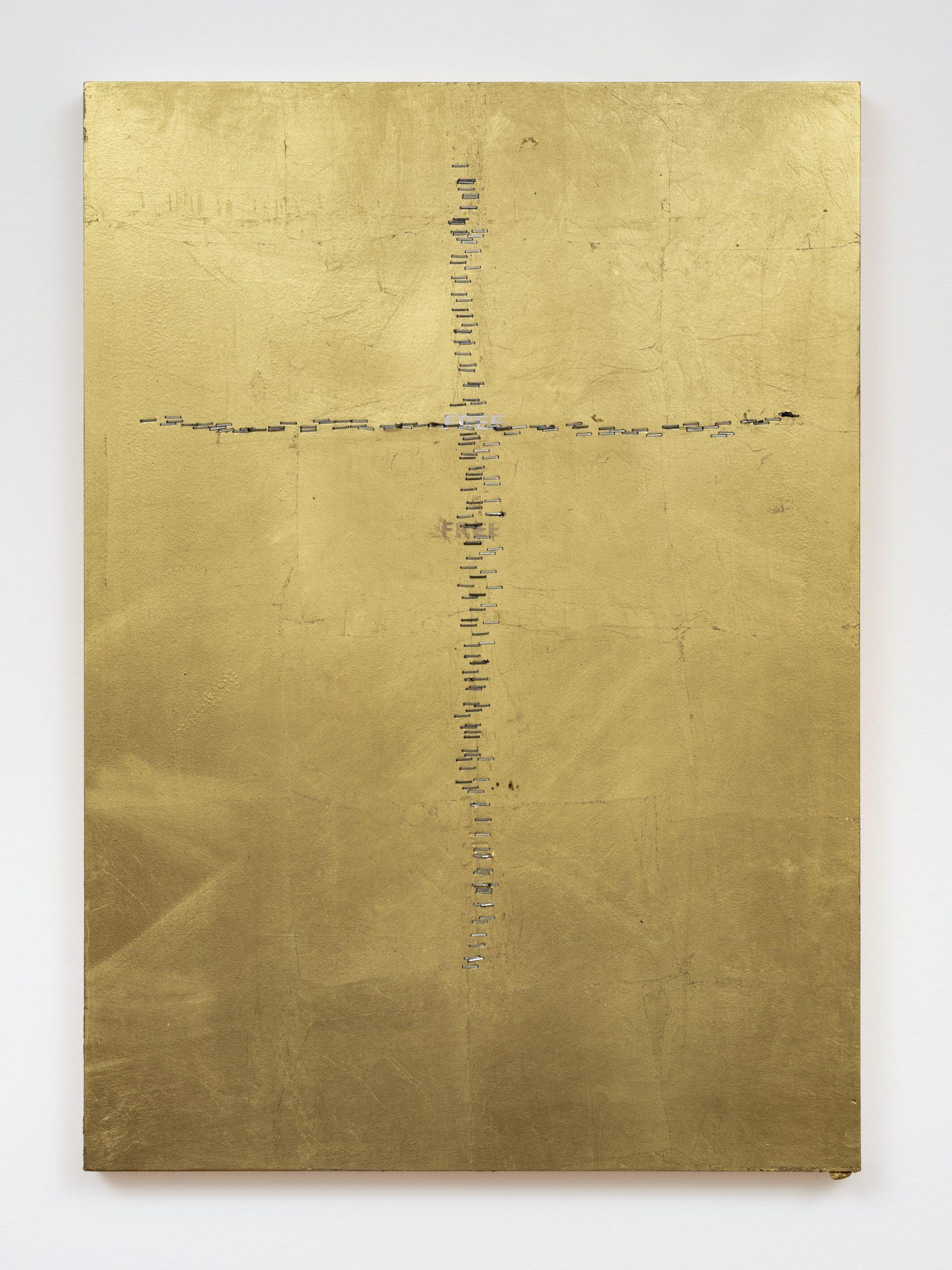 Stefan Brüggemann INSIDE (HYPER-POEM LOCKDOWN) 2020 Gold leaf, metal staples and vinyl text on wood 70 x 49.7 x 3.5 cm / 27 1/2 x 19 5/8 x 1 3/8,  © Stefan Brüggemann Courtesy the artist and Hauser & Wirth Photo: Damian Griffiths