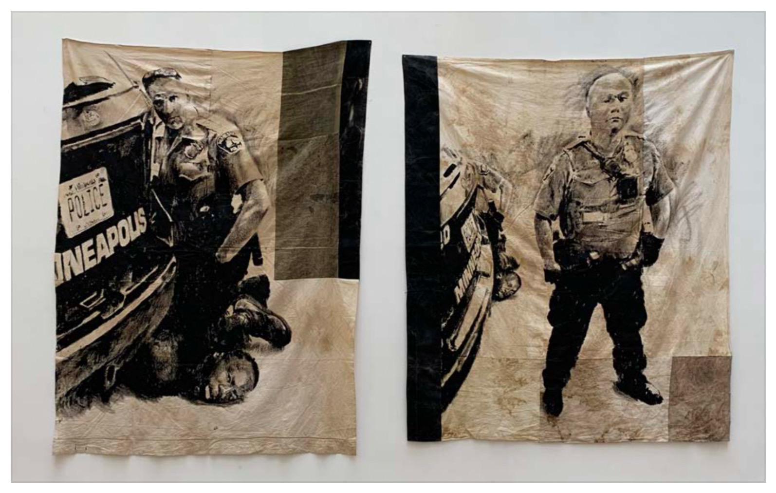 ROMÉO MIVEKANNIN Meurtre de George Floyd, 2020, Acrylique, bains d'élixir sur toile libre, Diptyque, 221 x 163 cm, 206 x 171 cm