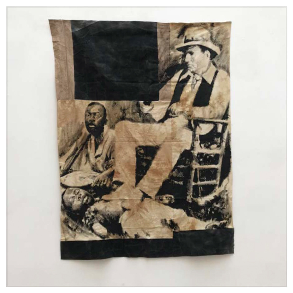 ROMÉO MIVEKANNIN  Le colon, Afrique du sud, 2020, Acrylique, bains d'élixir sur toile libre, 186 x 146 cm.  Courtesy galerie Eric Dupont, Paris.