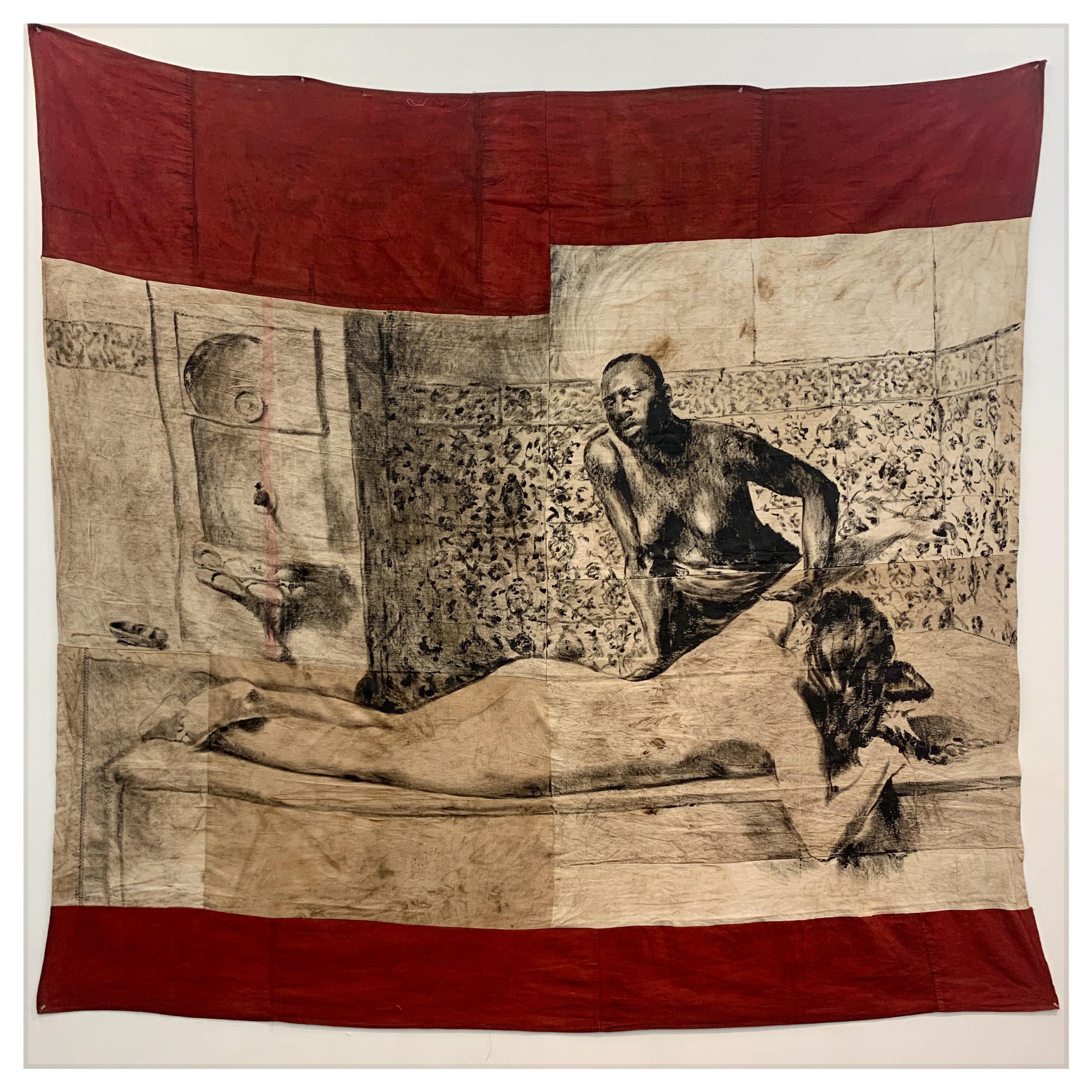 ROMÉO MIVEKANNIN Série Le Modèle Noir, Scène de Hammam, 2020 Acrylique, bains d'élixir sur toile libre. 253 x 270 cm. Collection privée.  Courtesy galerie Eric Dupont, Paris.