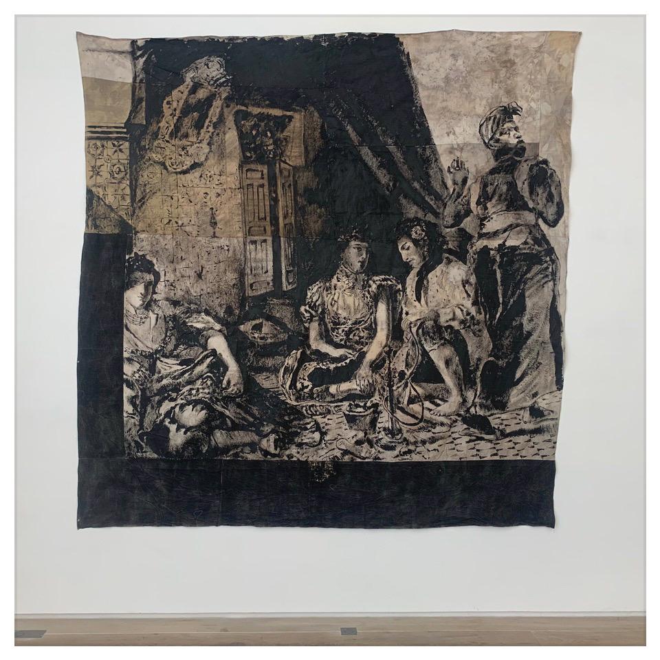 ROMÉO MIVEKANNIN Série Le Modèle Noir, Femmes d'Alger dans leur appartement, d'après Delcaroix, 2020, Acrylique, bains d'élixir sur toile libre  Courtesy galerie Eric Dupont, Paris.