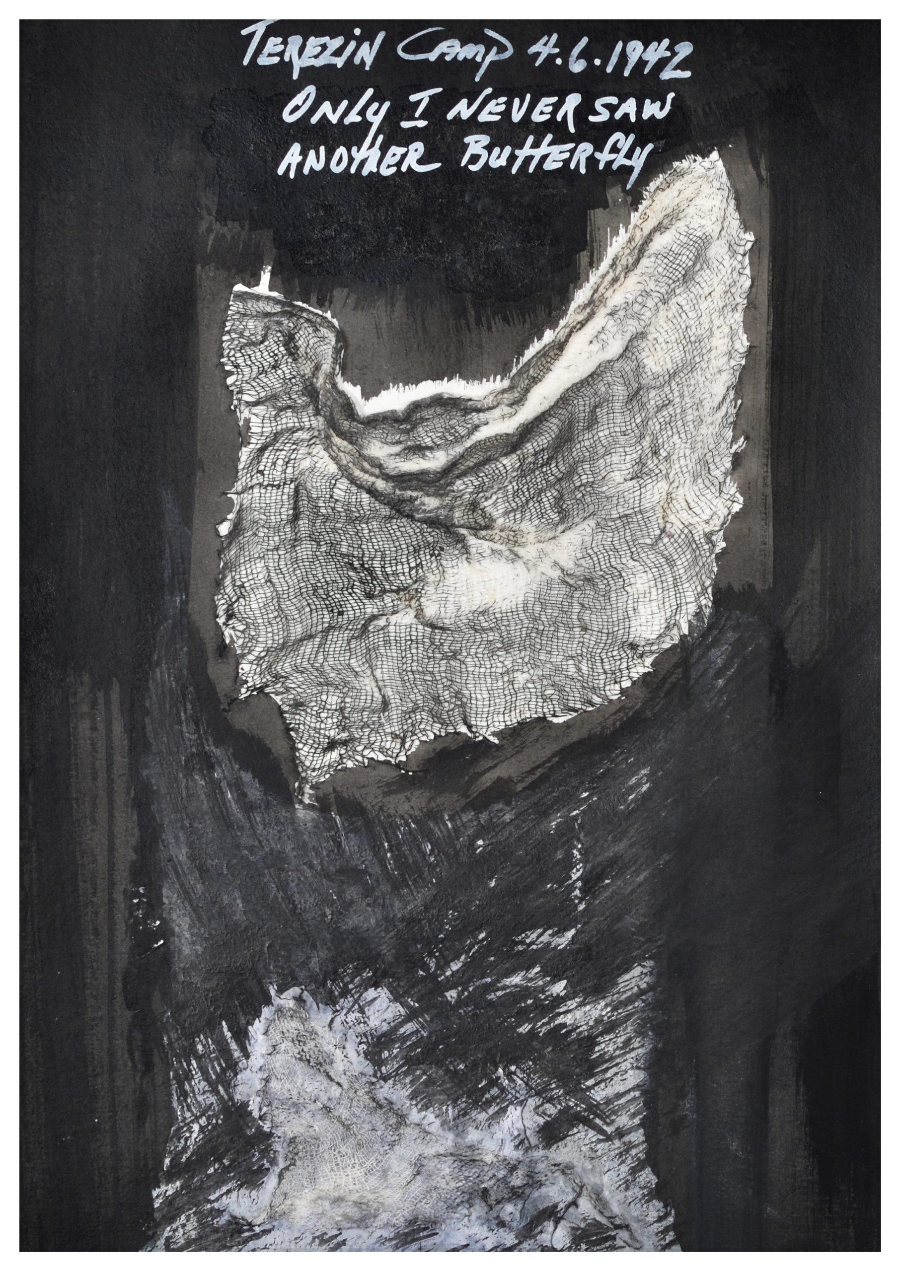 Carolyn Carlson Terezin Camp 4.6.1942 2019 Encre de chine, gouache et tissu sur papier 29,7 x 21 cm