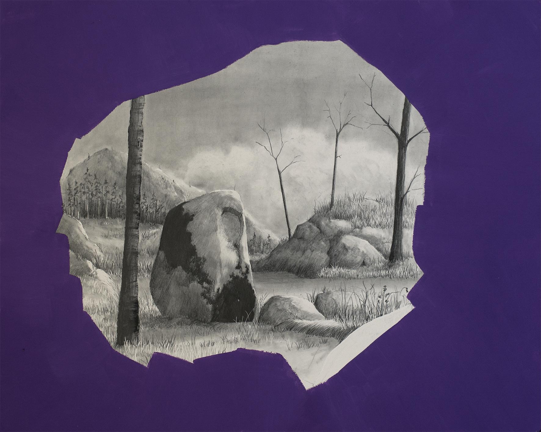 ___galerielaforestdivonne,DavidLefebvre,Mégalithe IV, graphite et huile sur clayboard, 24 x 30 cm, 2019, crédit david Lefèbvre, copy Galerie La Forest Divonne