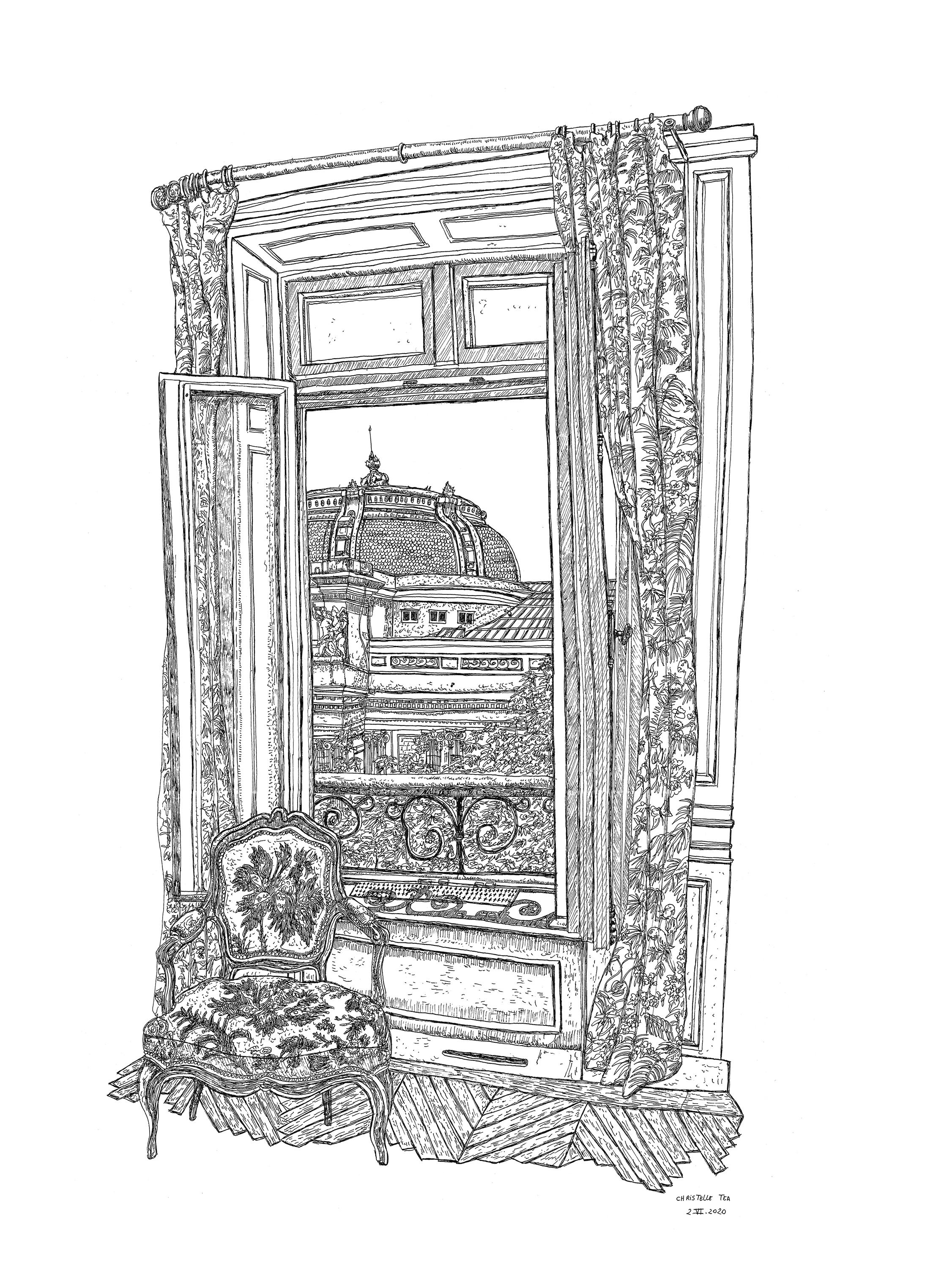 Christelle Téa, Vue de fenêtre sur le Palais de la Découverte, 2.VI.2020