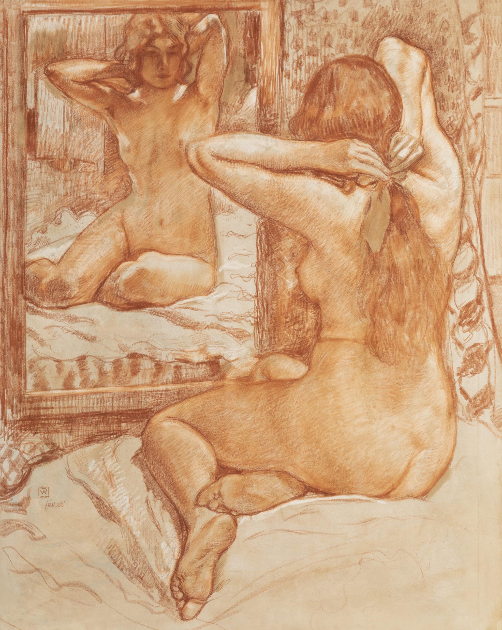 ThÇo VAN RYSSELBERGHE Le ruban Çcarlate Sanguine gouache et craie blance sur papier 110x88cm LANCZ-GALLERY-crÇdit photo Everarts