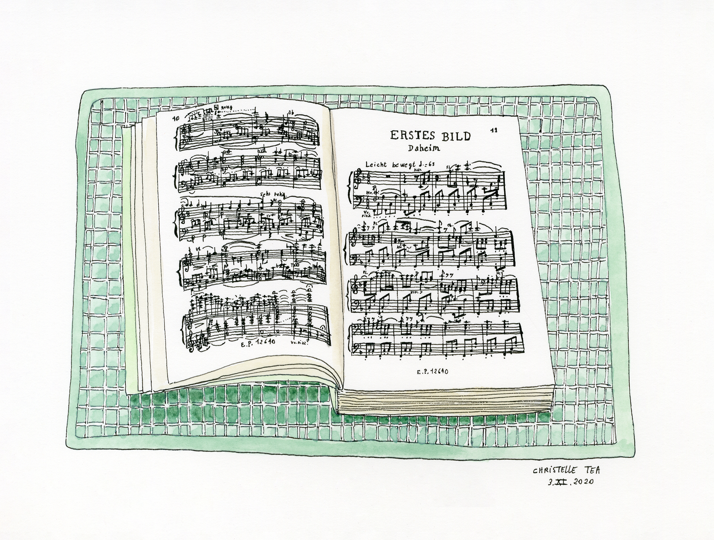 Partition Hänsel und Gretel d'Humperdinck, Edition Peters N°9249, Klavierauszug, vocal score, 3.XI.2020. Encre de Chine et aquarelle sur papier, 18 x 24 cm.