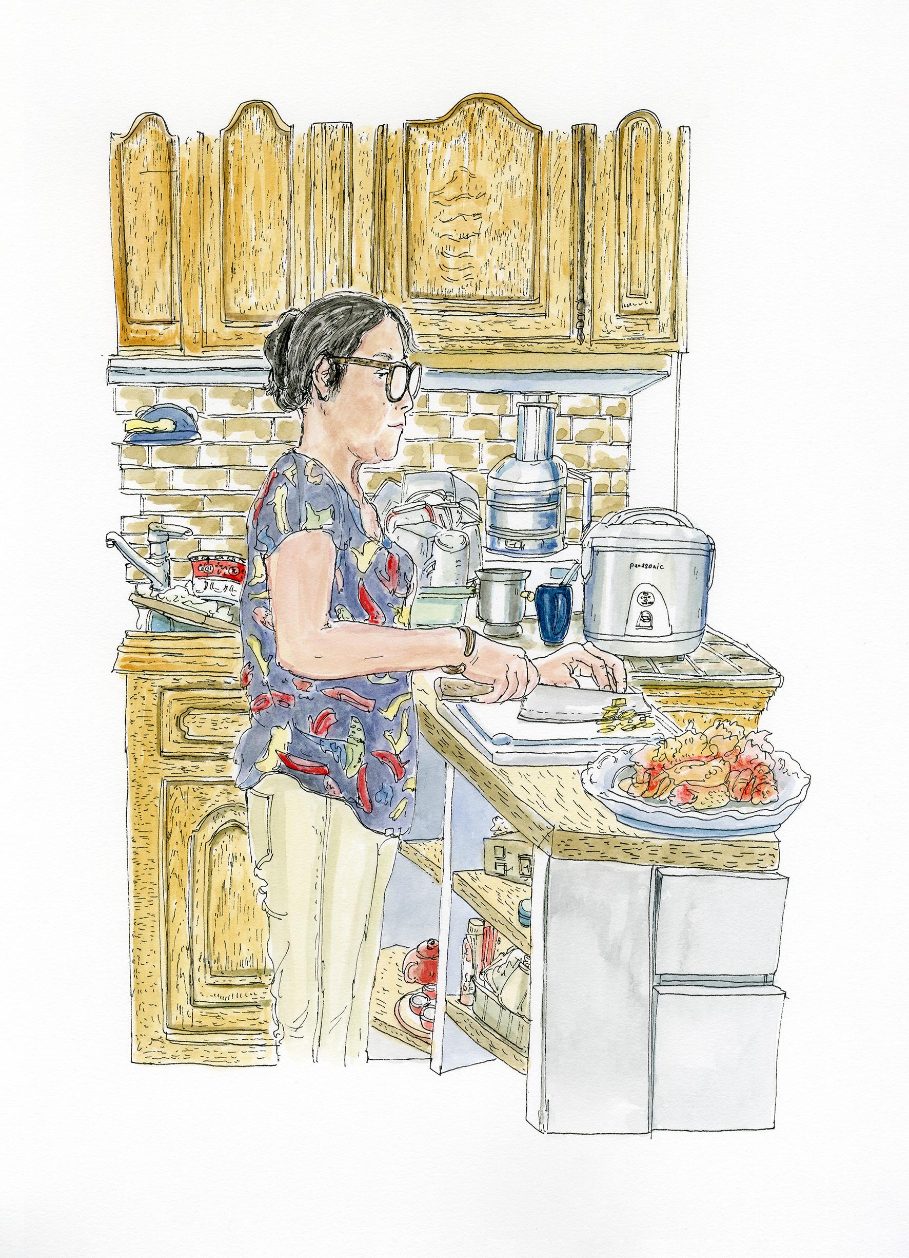 Maman qui coupe le gingembre dans la cuisine, 25.VII.2020. Encre de Chine et aquarelle sur papier, 36 x 26 cm.