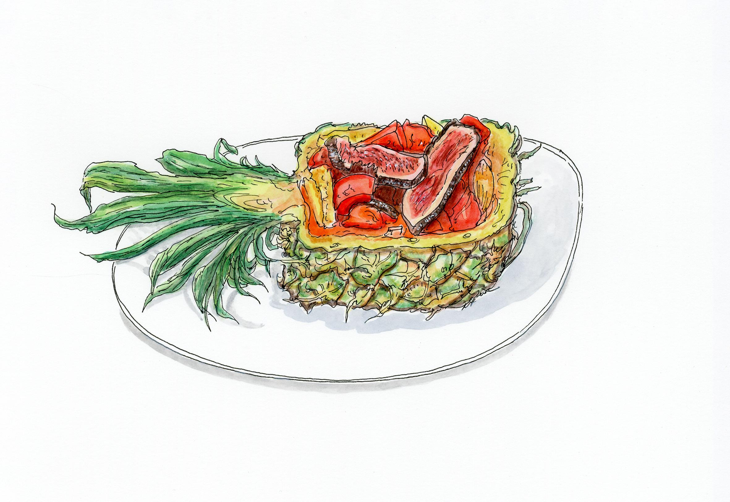 Canard à l'ananas, 25.VII.2020. Encre de Chine et aquarelle sur papier, 26 x 18 cm.