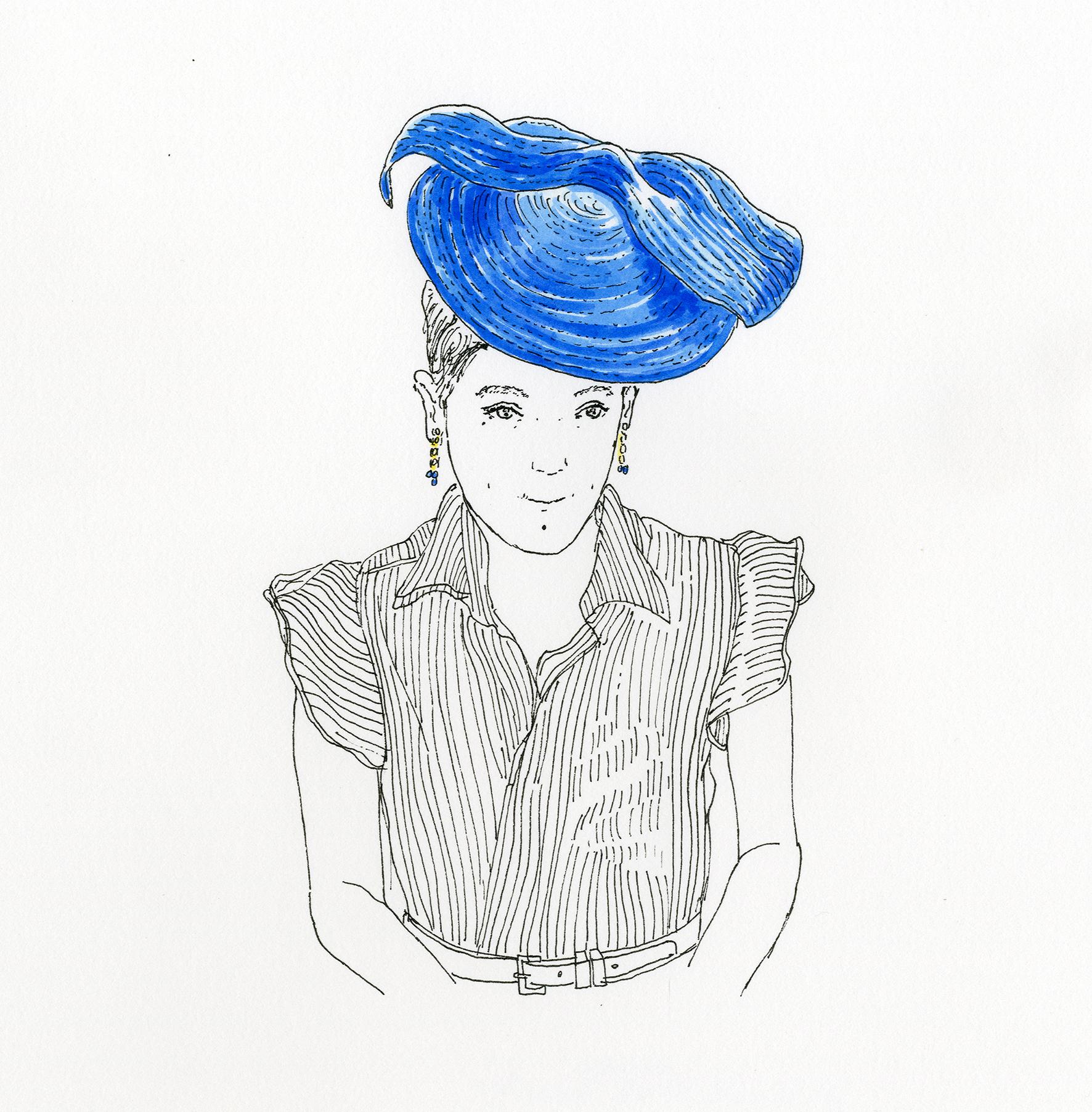 Autoportrait au bibi Ysé bleu, acheté chez Mademoiselle chapeau, 21.VII.2019. Encre de Chine et aquarelle sur papier, 30 x 30 cm.