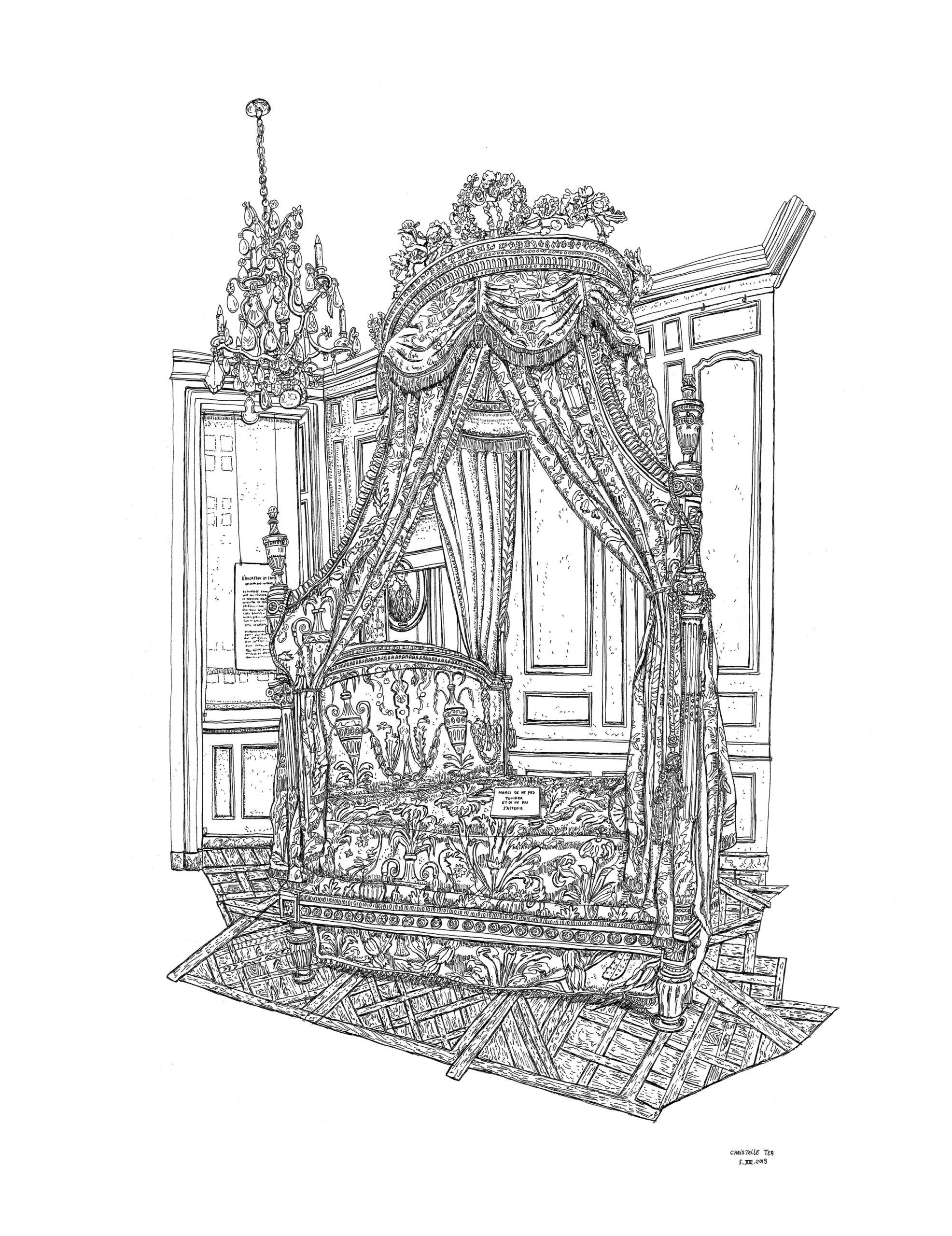 Lit à la polonaise, Musée Cognacq-Jay, Paris, 5.VIII.2019. Encre de Chine sur papier, 65 x 50 cm.