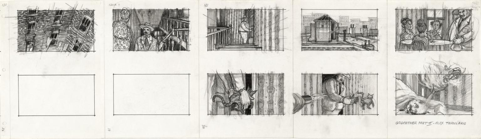 Alex Tavoularis, Godfather Part II,1973, planche de storyboard sur papier en noir et blanc, crayon graphite et feutre_Collection La Cinémathèque française © Alex Tavoularis