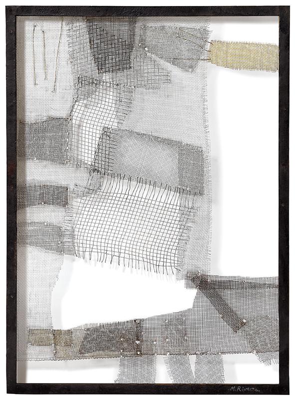 Manuel Rivera   Composición 8 Treillis et métal sur cadre en fer, 1957 100 x 725 cm Courtesy Mayoral