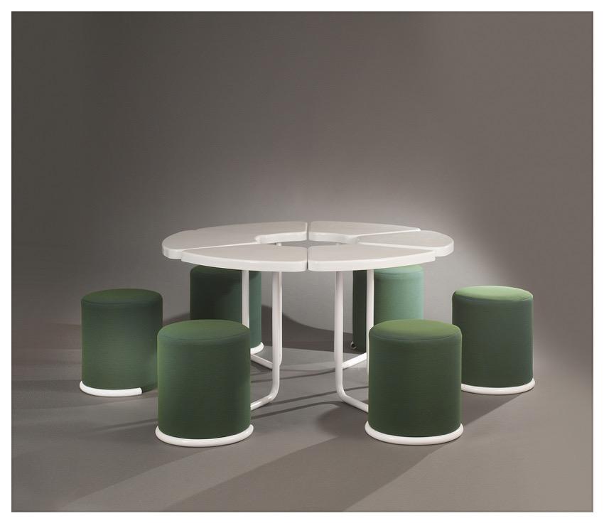 ©Galerie Meubles et Lumières, Ensemble table et tabourets modulables de Lionel Morgaine  1969