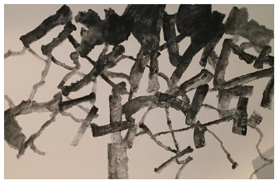 """ALEXANDRE HOLLAN Grands forces en mouvement, """"Le Garde de St. Jean d'Aumières"""", Grand chêne (2020) acrylique sur toile – H 130 x L 195 cm"""