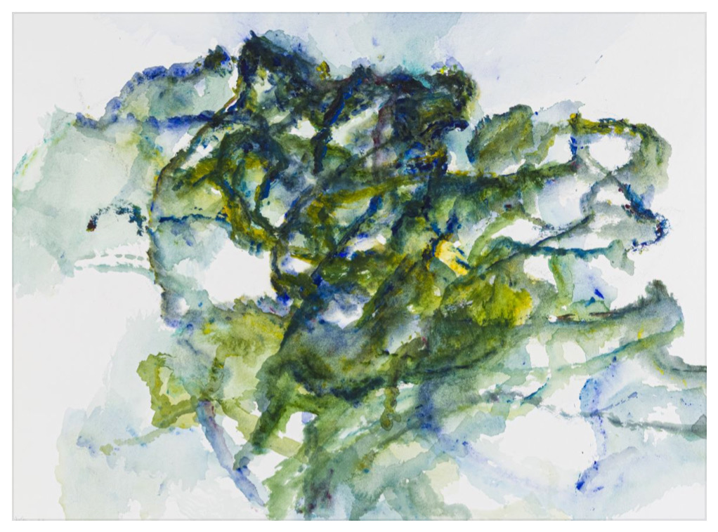 """ALEXANDRE HOLLAN Mouvement et couleurs dans l'arbre, """"Mouvement vers la lumière"""" (2020) acrylique sur papier – H 70 x L 92 cm"""