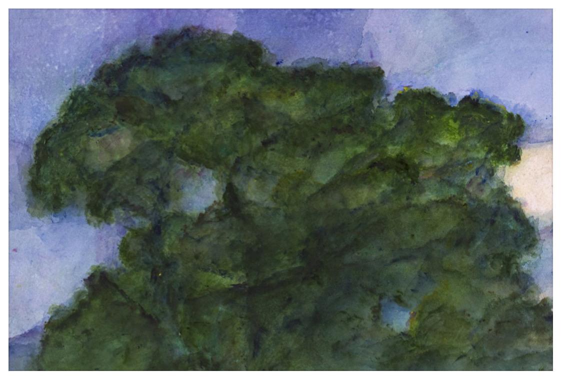 """ALEXANDRE HOLLAN Mouvement et couleurs dan l'arbre, """"Equilibre dans la forme"""" (2020) acrylique sur papier – H 70 x L 92 cm"""
