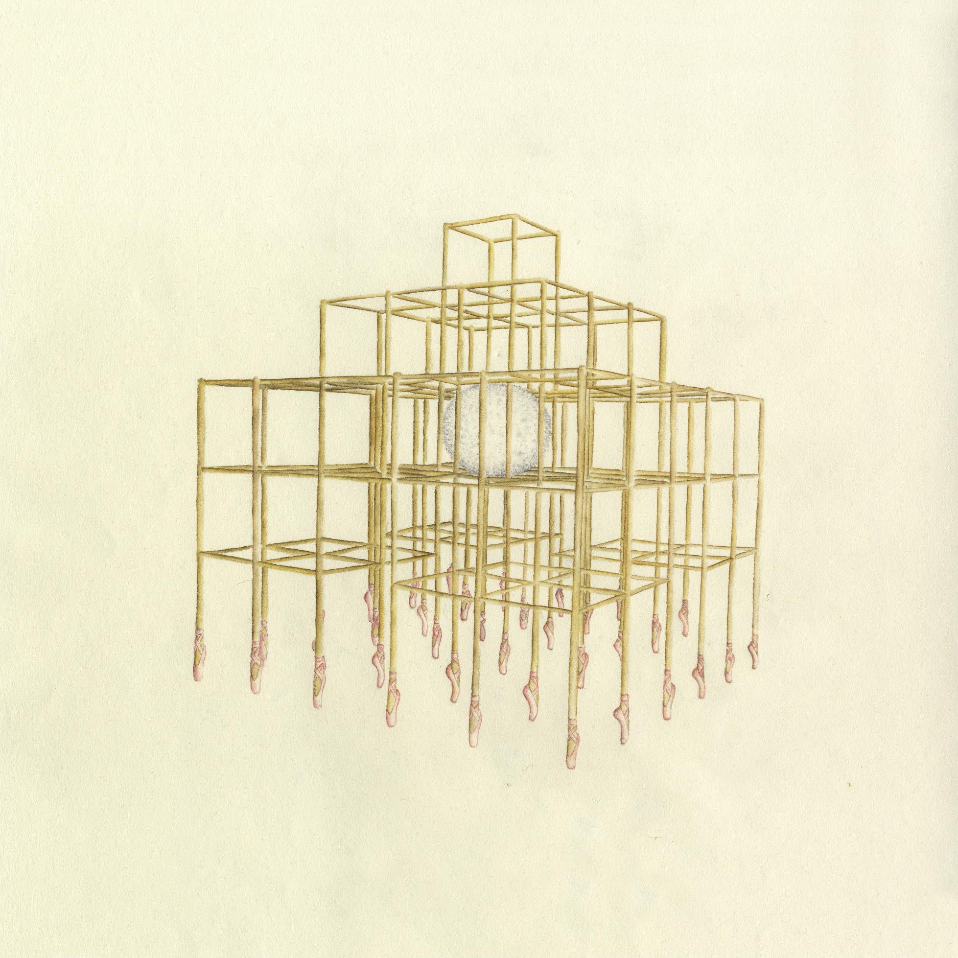 Laure Tixier, Cage aux cygnes_2014_33,5 x 33,5 cm_Aquarelle sur papier vélin,Exhibition view MATRIOCHKAS, ANALIX FOREVER, mars 2021