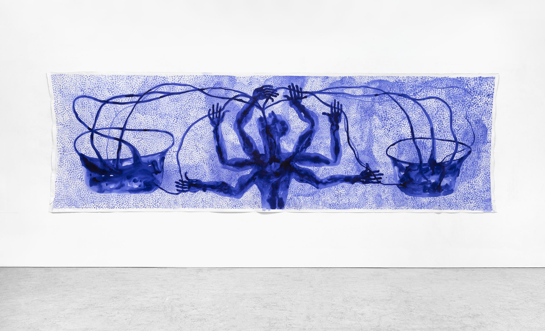 Barthélémy Toguo Water Matters, 2020 installation Encre et aquarelle sur toile, table, bouteilles de verre  W23135 Courtesy Galerie Lelong & Co. et Bandjoun Station